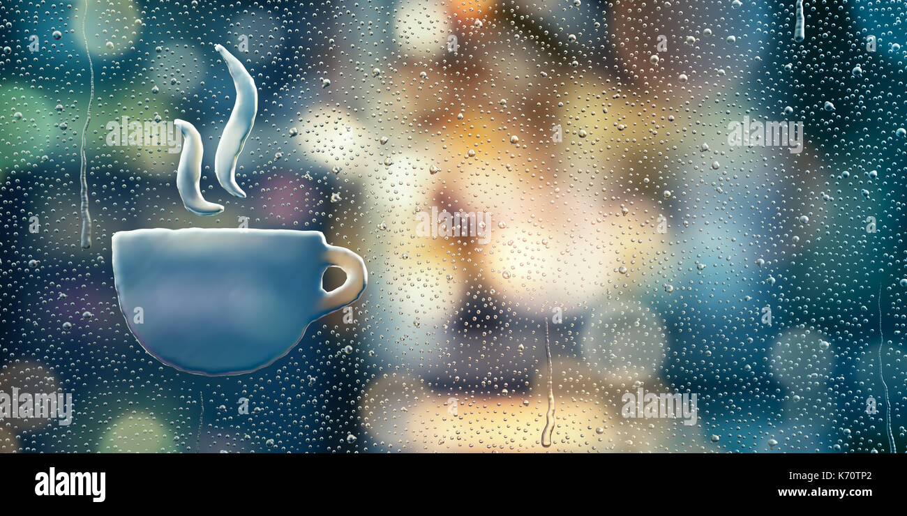 Water drop forming a coffee cup icon - Stock Image