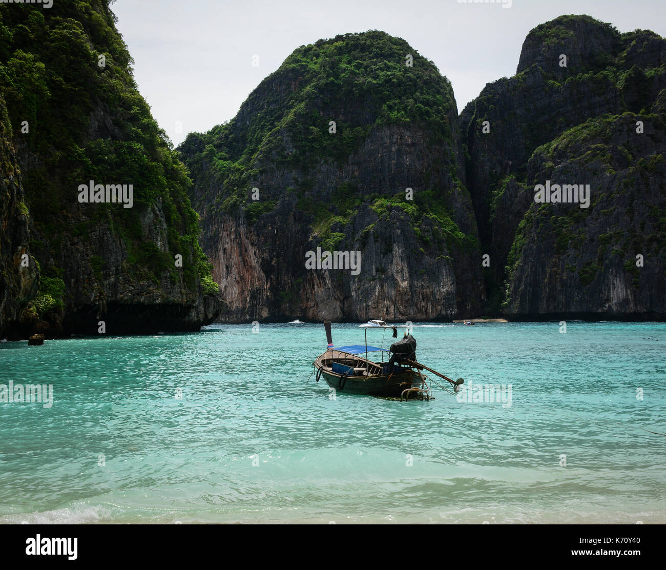 Phi Phi Beach: A Motorboat Waiting On The Beach In Koh Phi Phi, Thailand
