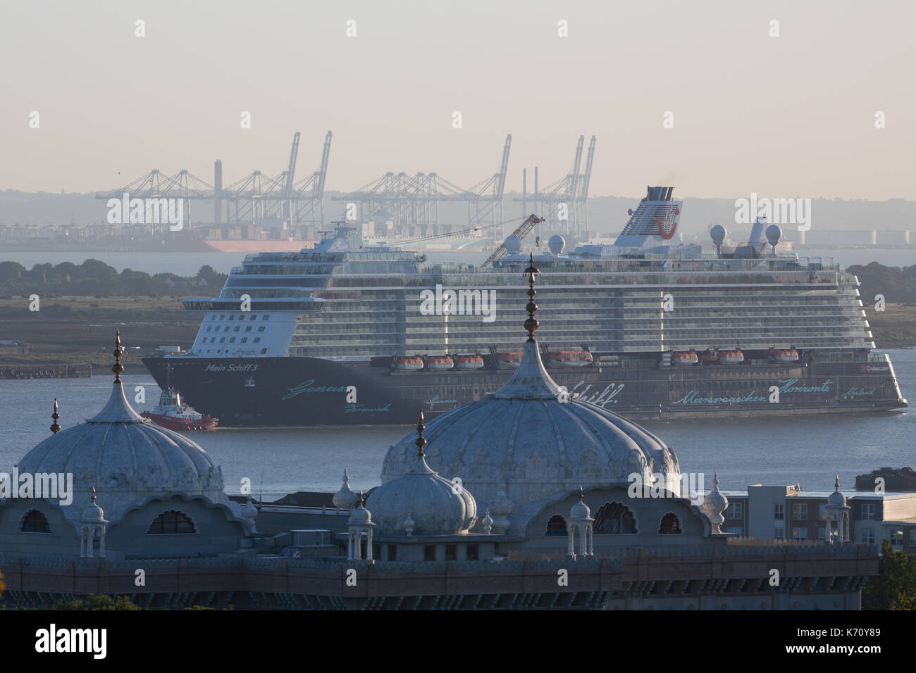 Cruise ship Mein Schiff 3 pictured passing Gravesend on her way to the cruise terminal at Tilbury. - Stock Image