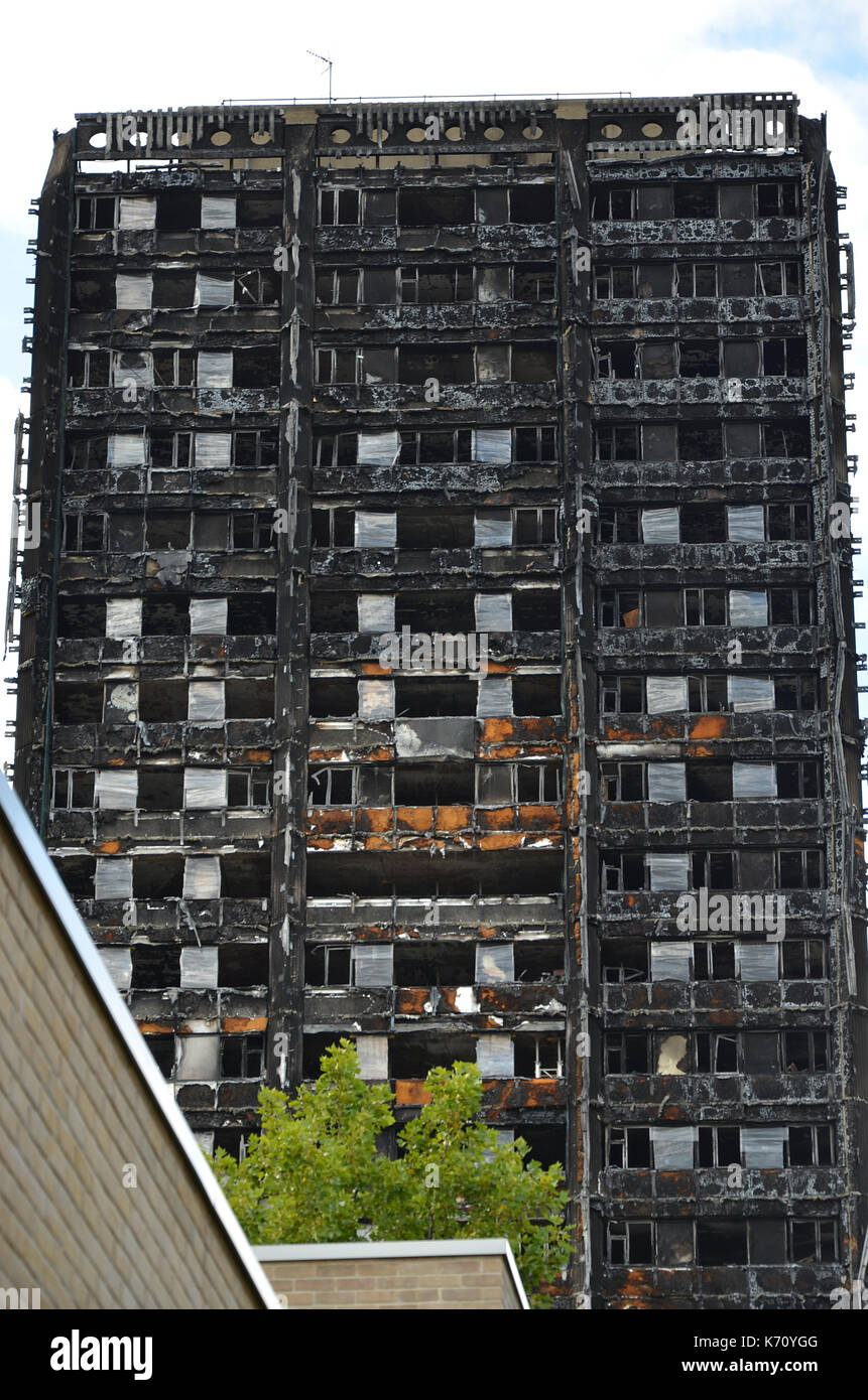 Grenfell tower, London tower block fire - Stock Image