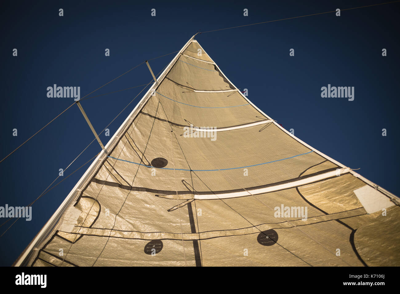Close-up of sail of the boat - Stock Image