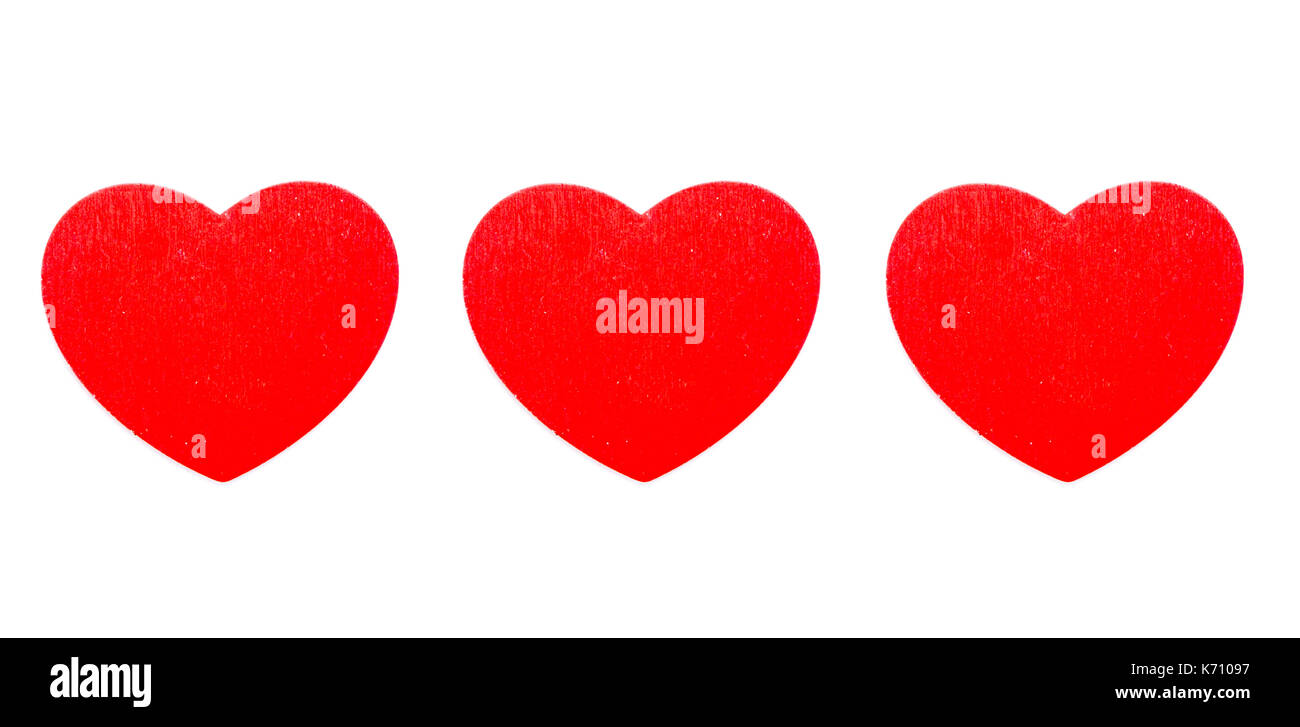 three hearts in a row isolated on white Stock Photo