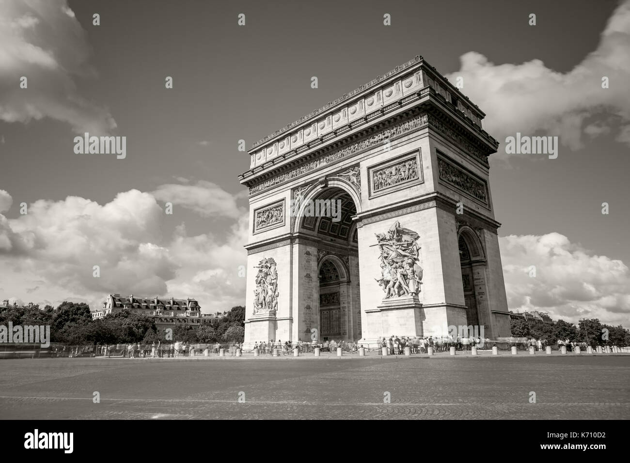Arc de Triomphe on the Champs Elysees - Stock Image