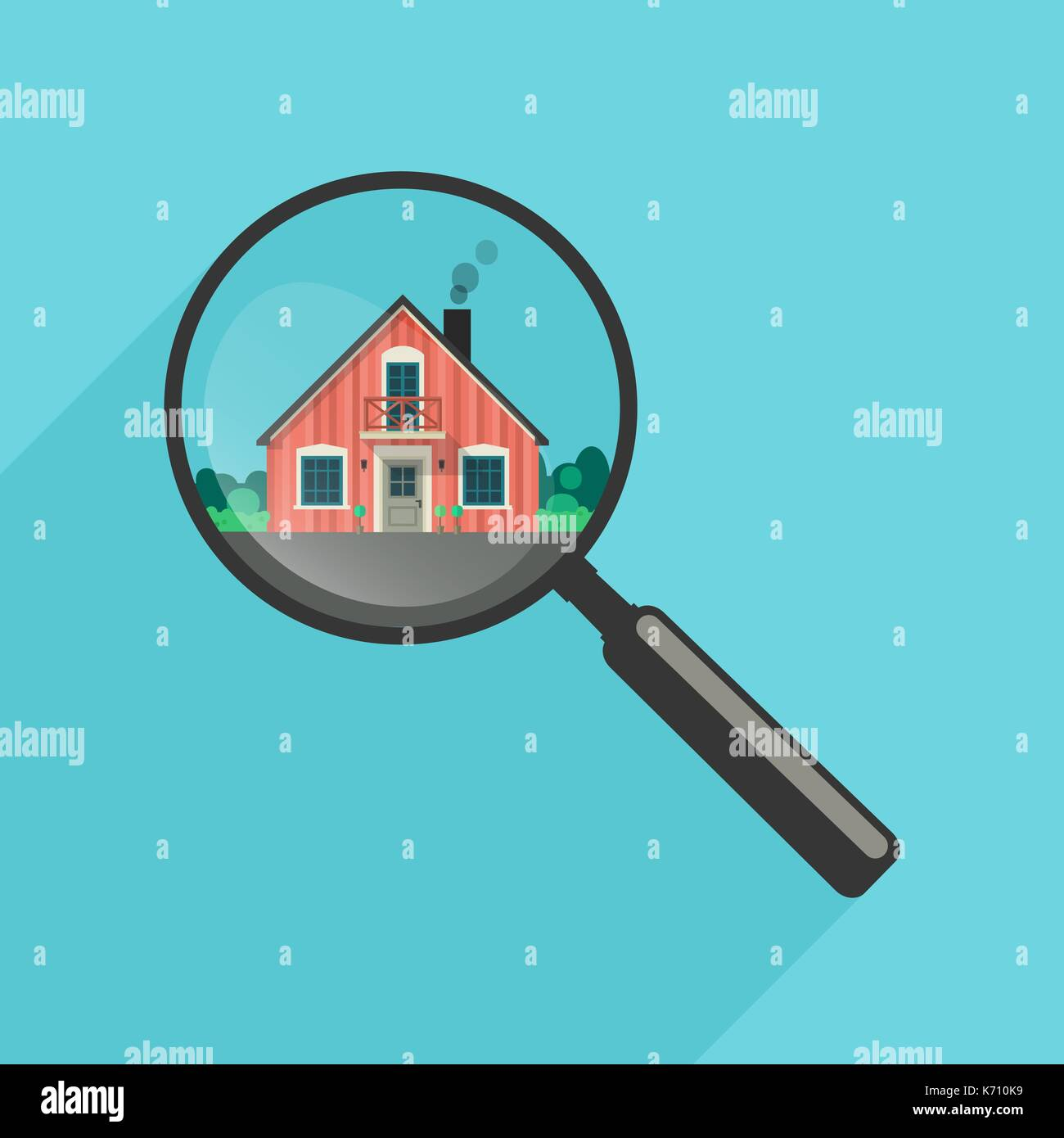 House search with magnifier - Stock Vector