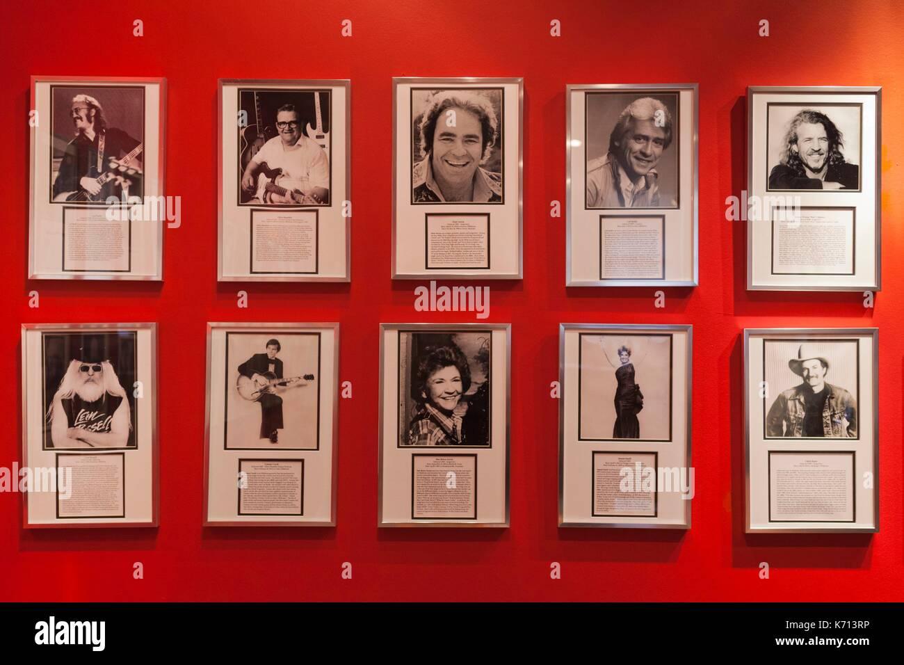 United States, Oklahoma, Muskogee, Oklahoma Music Hall of Fame, photographs of famous Oklahoma musicians Stock Photo