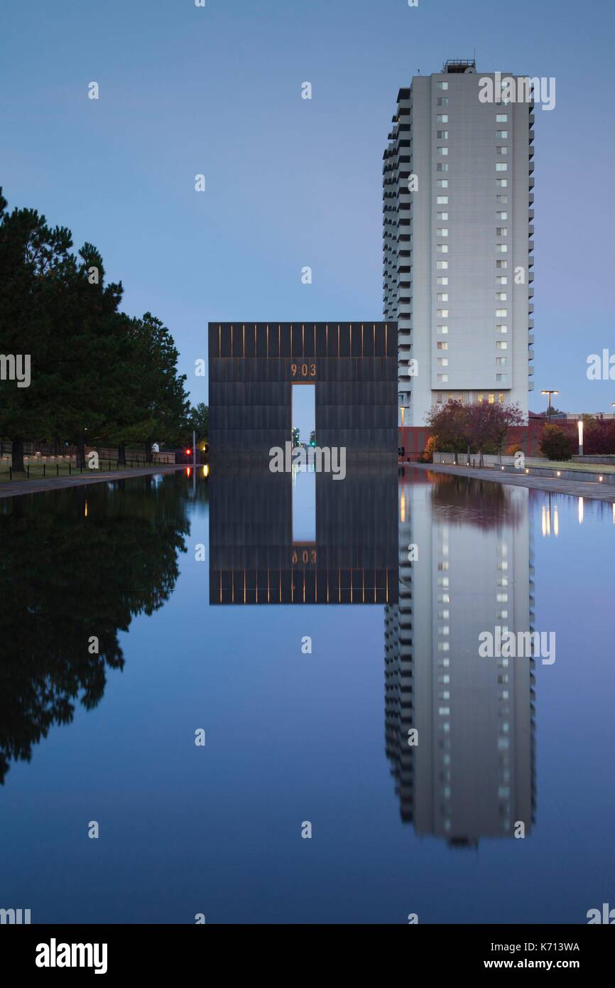 United States, Oklahoma, Oklahoma City, Oklahoma City National Memorial to the victims of the Alfred P. Murrah Federal Stock Photo