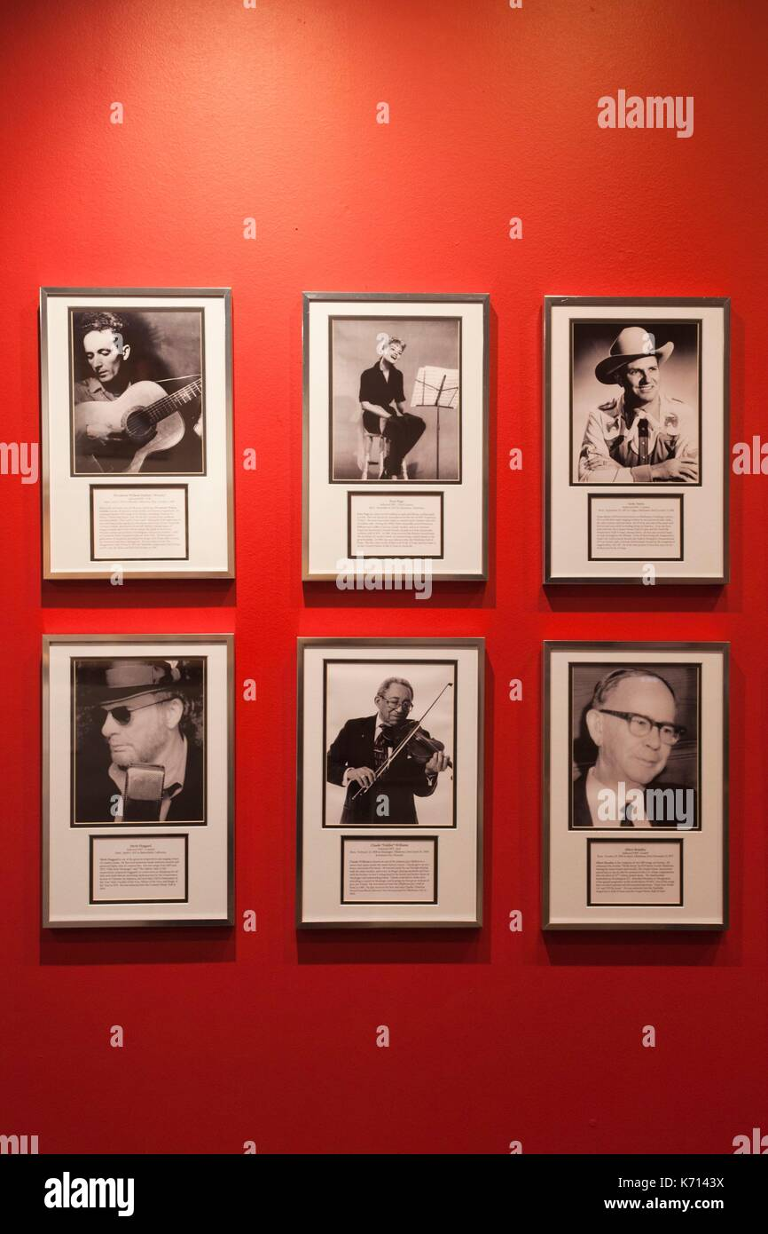 United States, Oklahoma, Muskogee, Oklahoma Music Hall of Fame, photographs of famous Oklahoma musicians Stock Photo