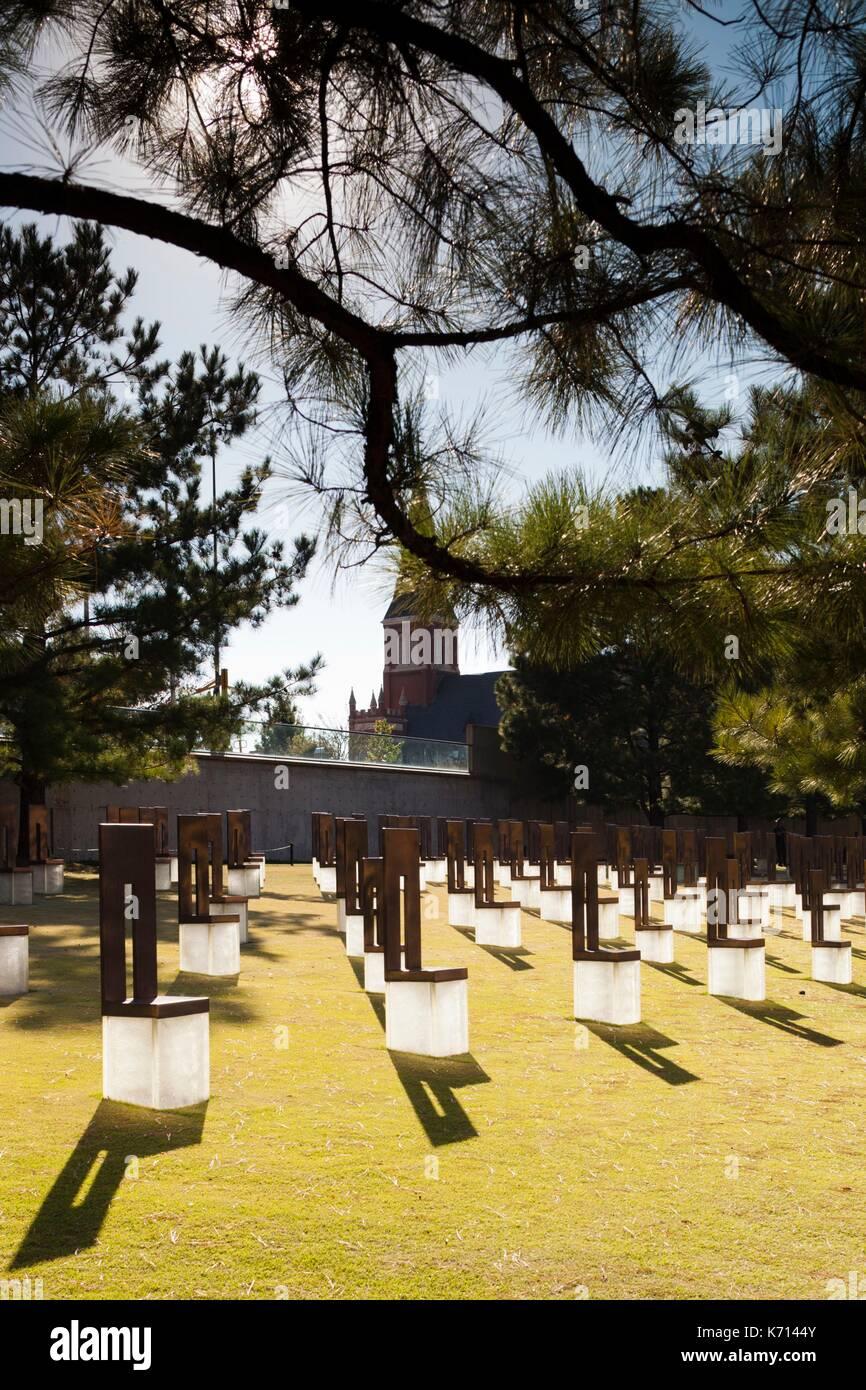 United States, Oklahoma, Oklahoma City, Oklahoma City National Memorial to the victims of the Alfred P. Murrah Federal Stock Photo