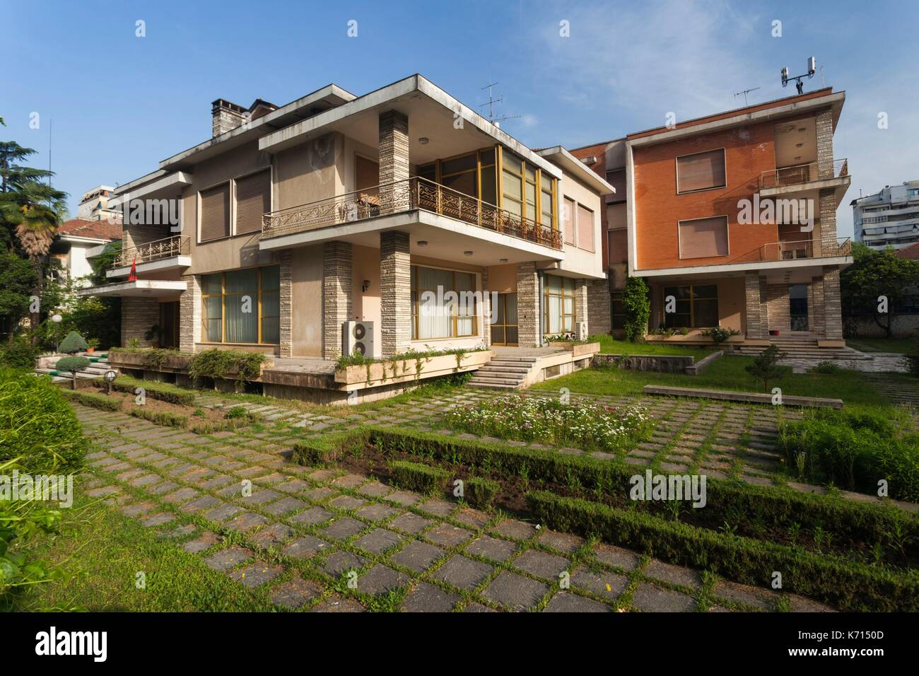 Albania, Tirana, Blloku area, formerly used by Communist party elite, former home of Communist leader Enver Hoxha, morning - Stock Image