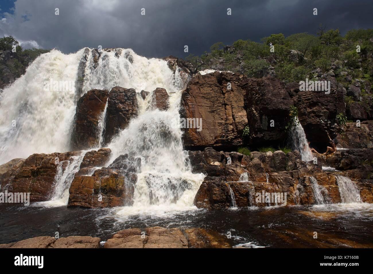 Brazil, Goias, Chapada dos Veadeiros National Park, Cachoeira Cariocas - Stock Image