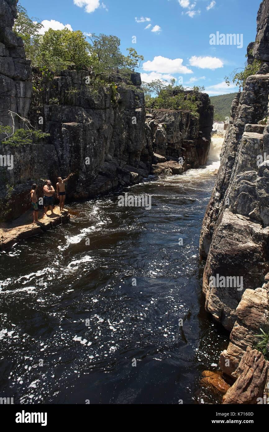 Brazil, Goias, Chapada dos Veadeiros National Park, Cachoeira Canion II - Stock Image