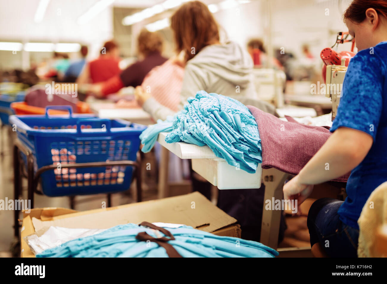 Fabric and textile industry - Stock Image