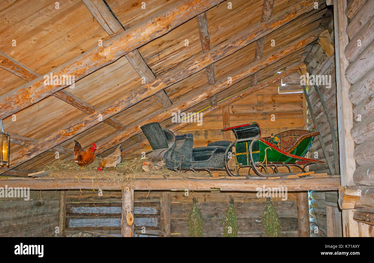 SUZDAL, RUSSIA - JULY 1, 2013: The attic in the inner porch of old log izba, here are the sledges, birch brooms for Russian bath and roost for domesti - Stock Image