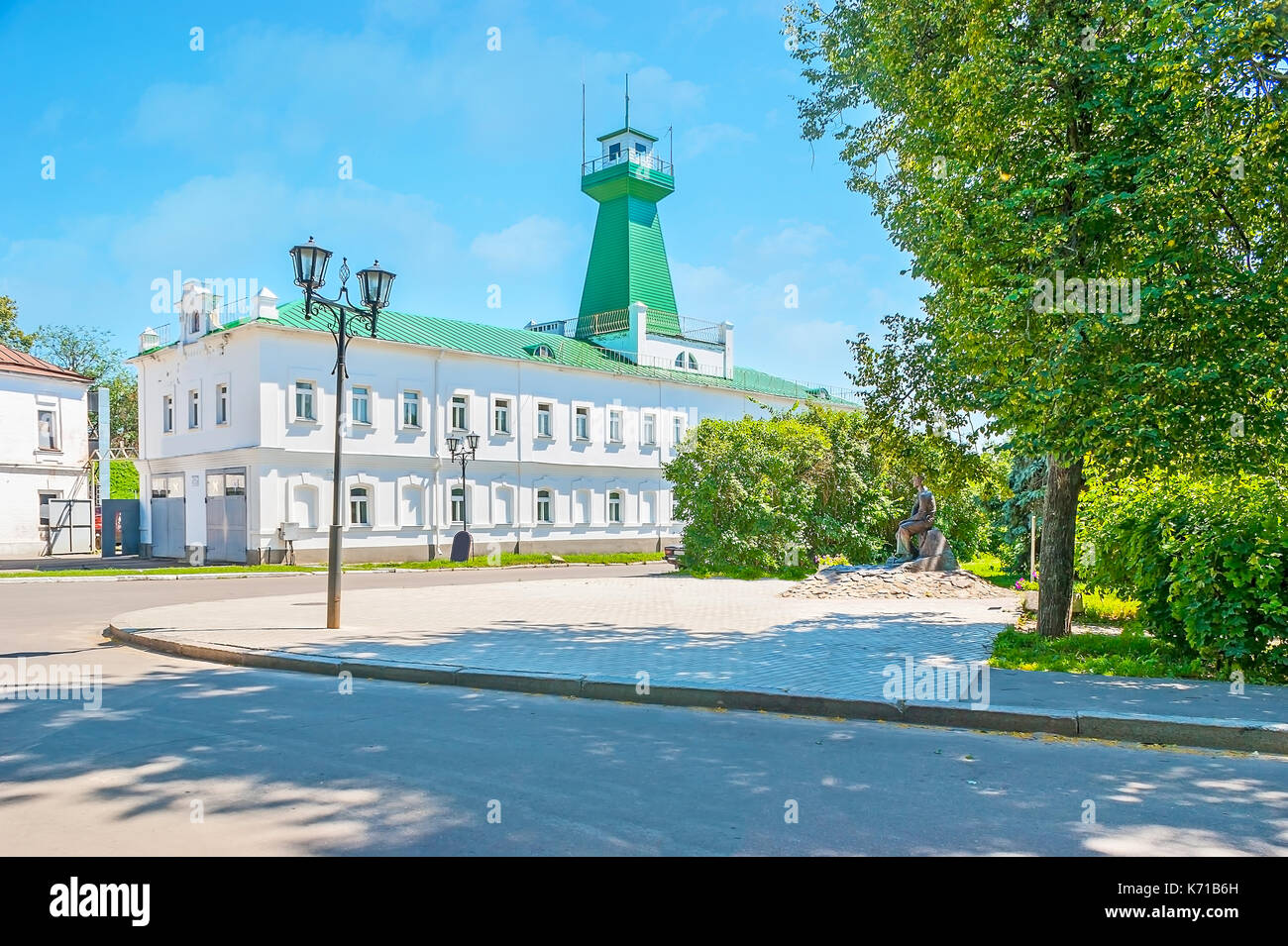 The building of the old fire station with a watchtower, located in historic city neighborhood, Suzdal, Russia. - Stock Image