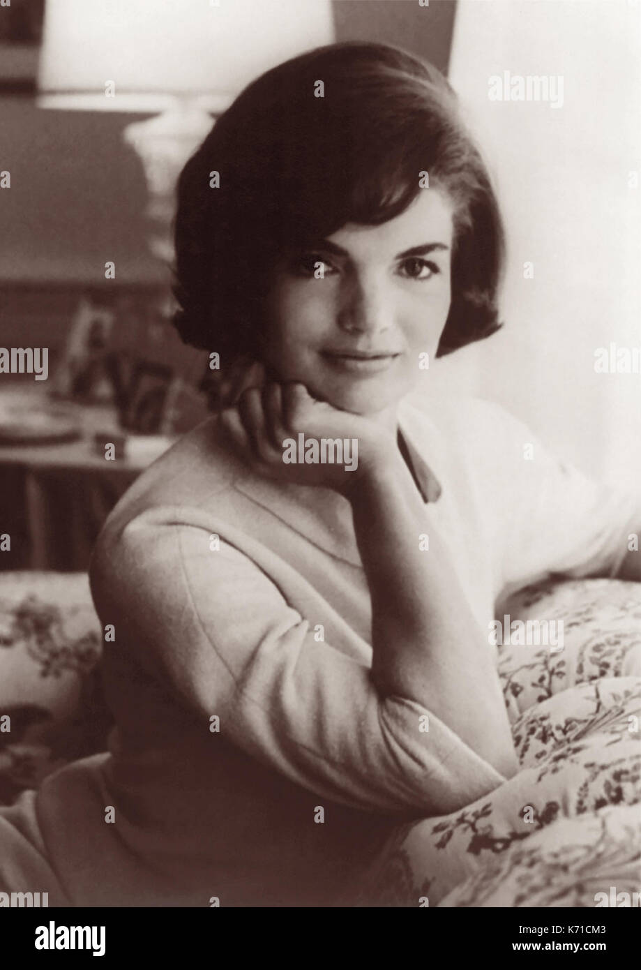 First Lady Jacqueline Bouvier Kennedy, wife of President John F. Kennedy, in a 1961 White House portrait by Mark Shaw. - Stock Image