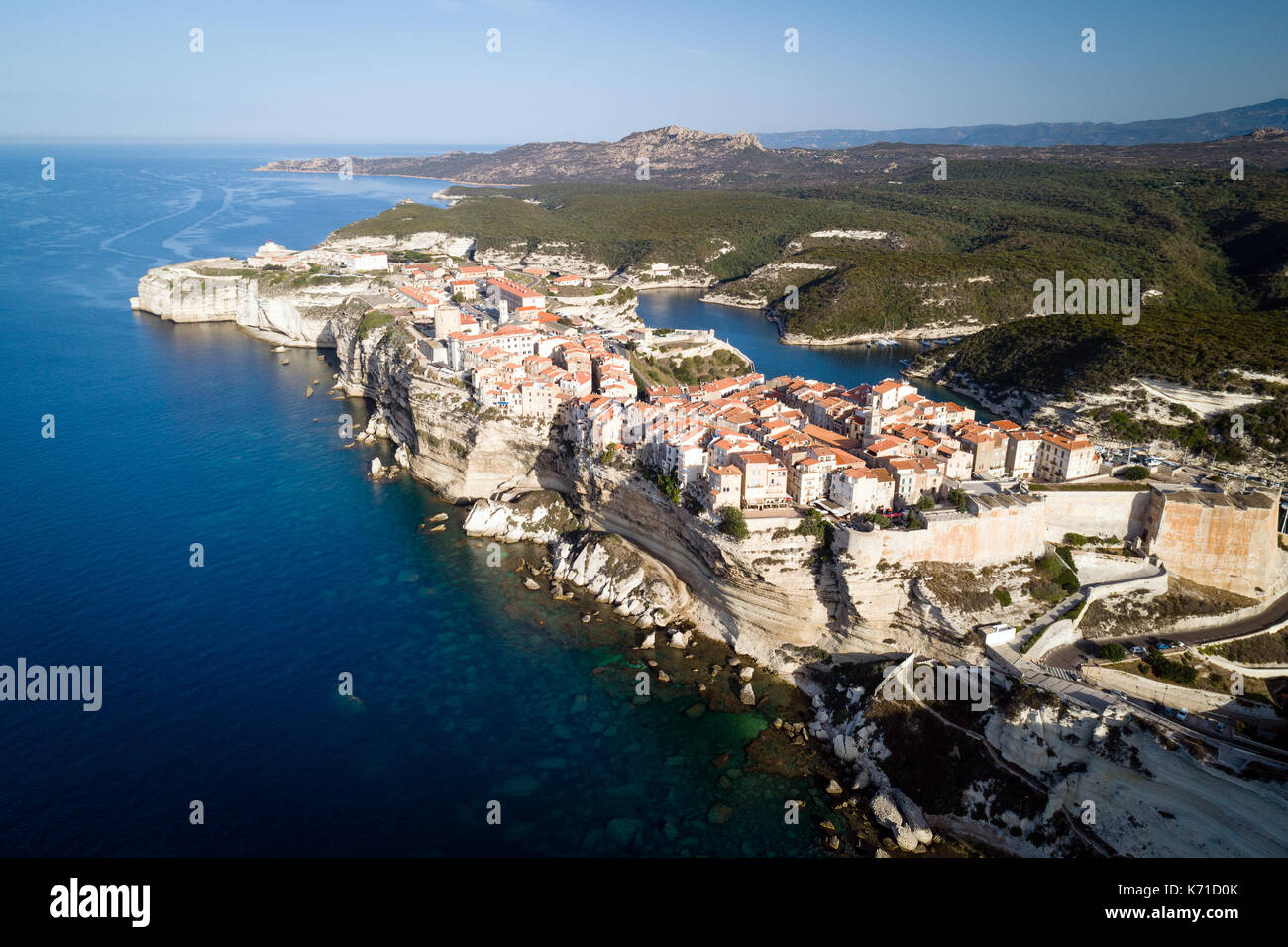 Aerial view of limestone cliffs, and the old town of Bonifacio, Corsica island, France - Stock Image
