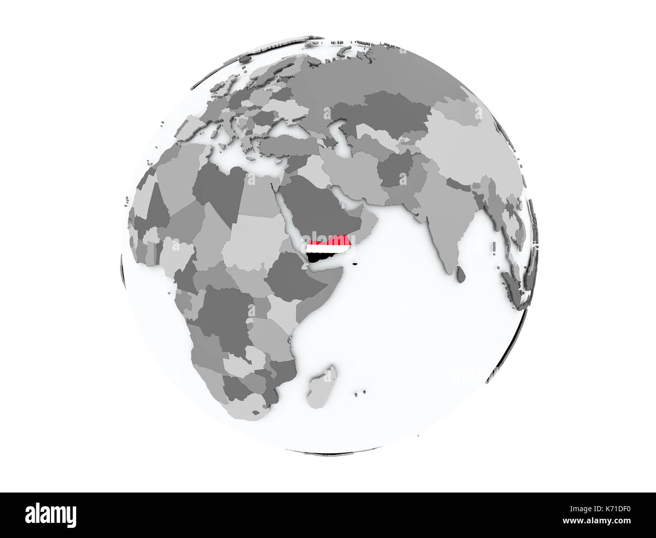 Yemen on political globe with embedded flags. 3D illustration isolated on white background. - Stock Image