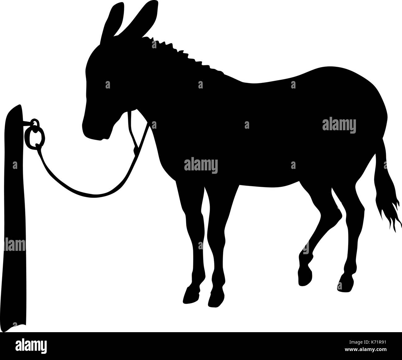 vector silhouette of donkey - Stock Image