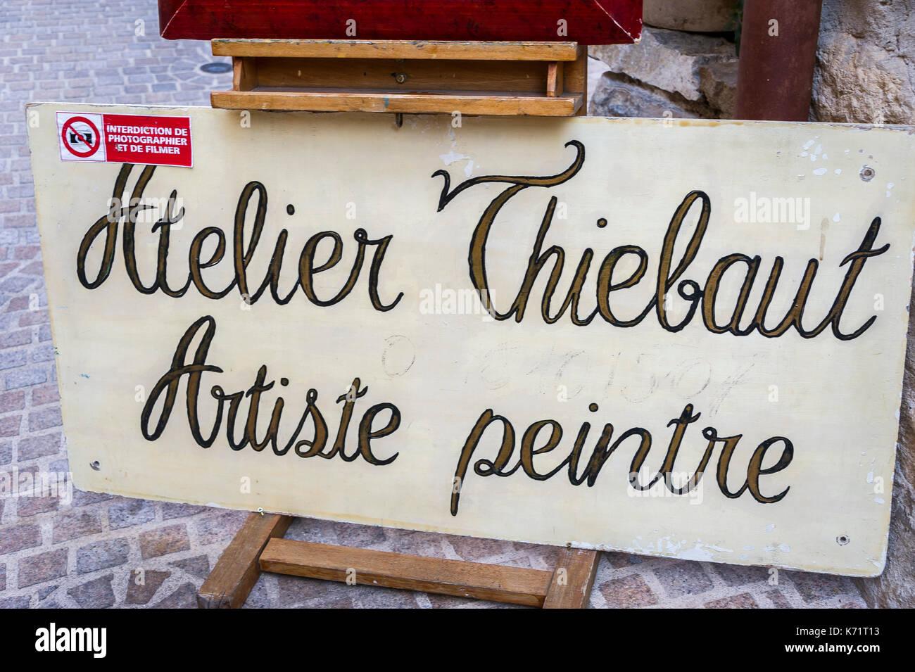 Atelier Thiebaul Artiste Peintre Village Medieval du Castellet Var France - Stock Image