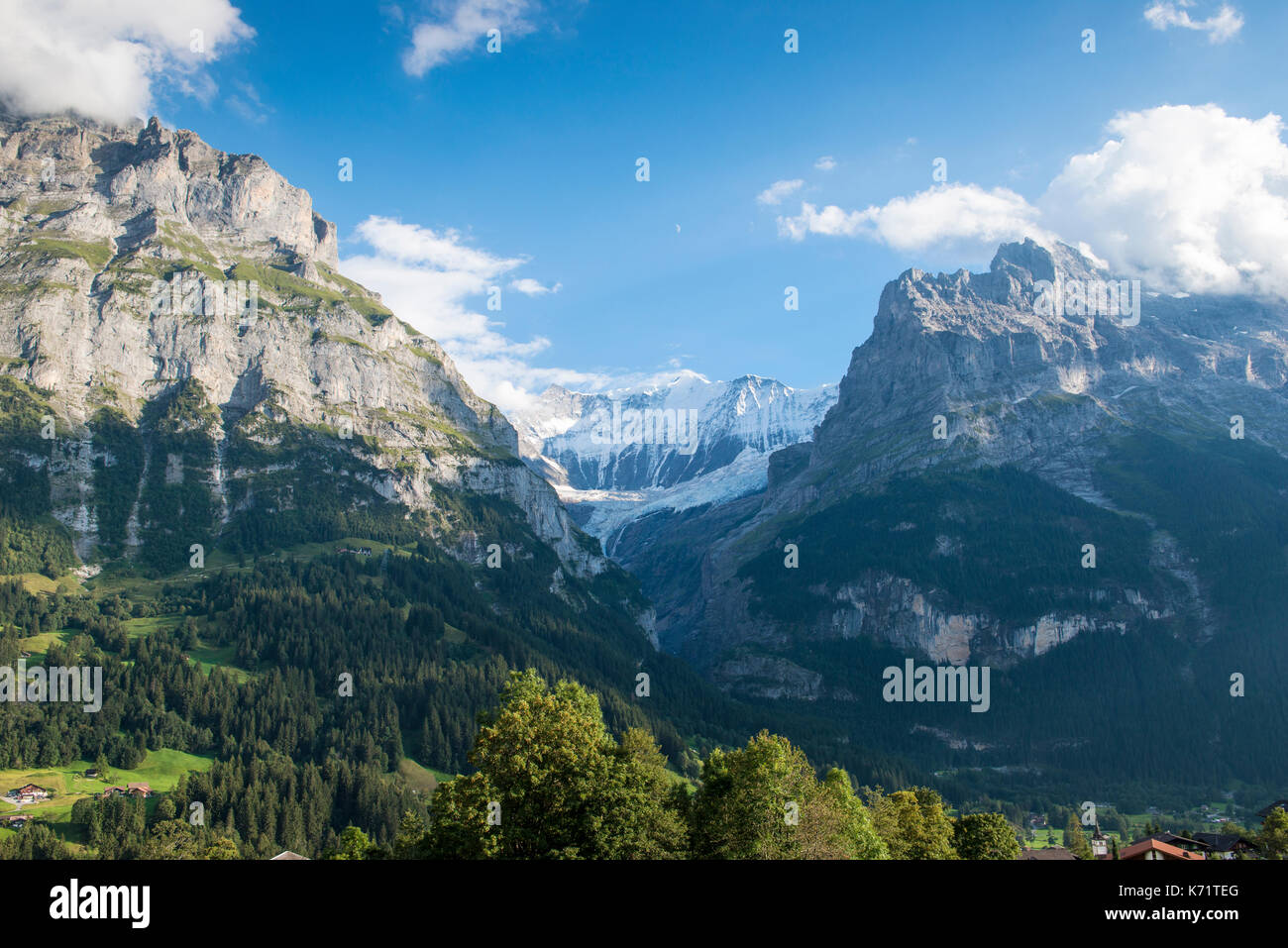 View into the valley of Untere Grindelwald Gletscher (glacier), GRindelwald, Switzerland - Stock Image