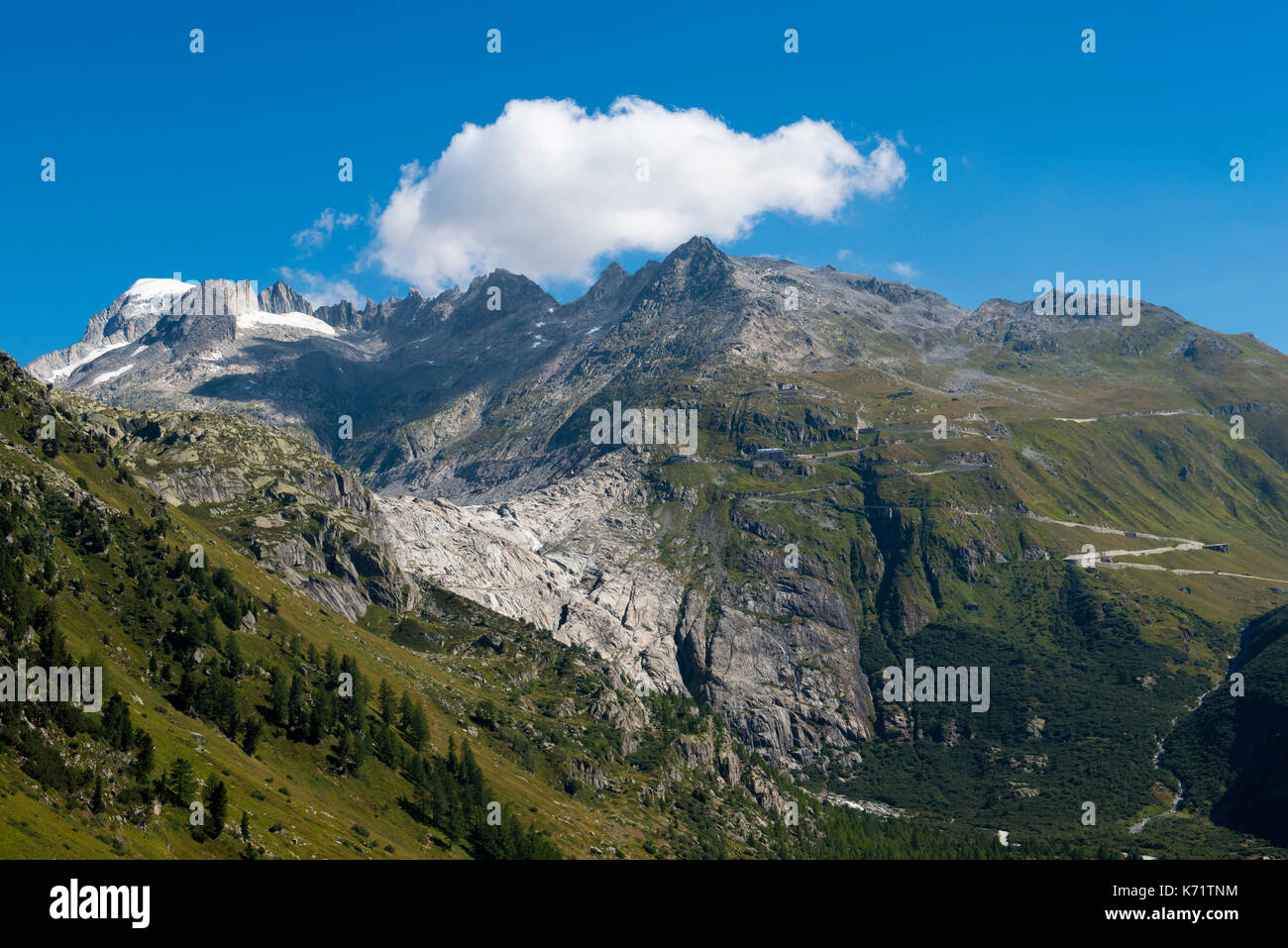 Furka pass road with Rhone glacier, view from Grimsel pass, Valais, Switzerland Stock Photo