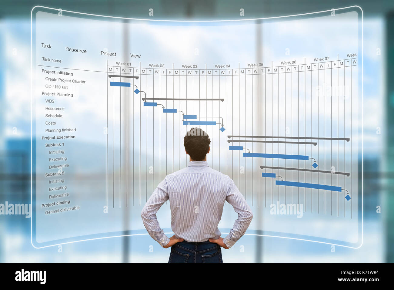 Project manager looking at AR screen with Gantt chart schedule or planning showing tasks and deadlines - Stock Image