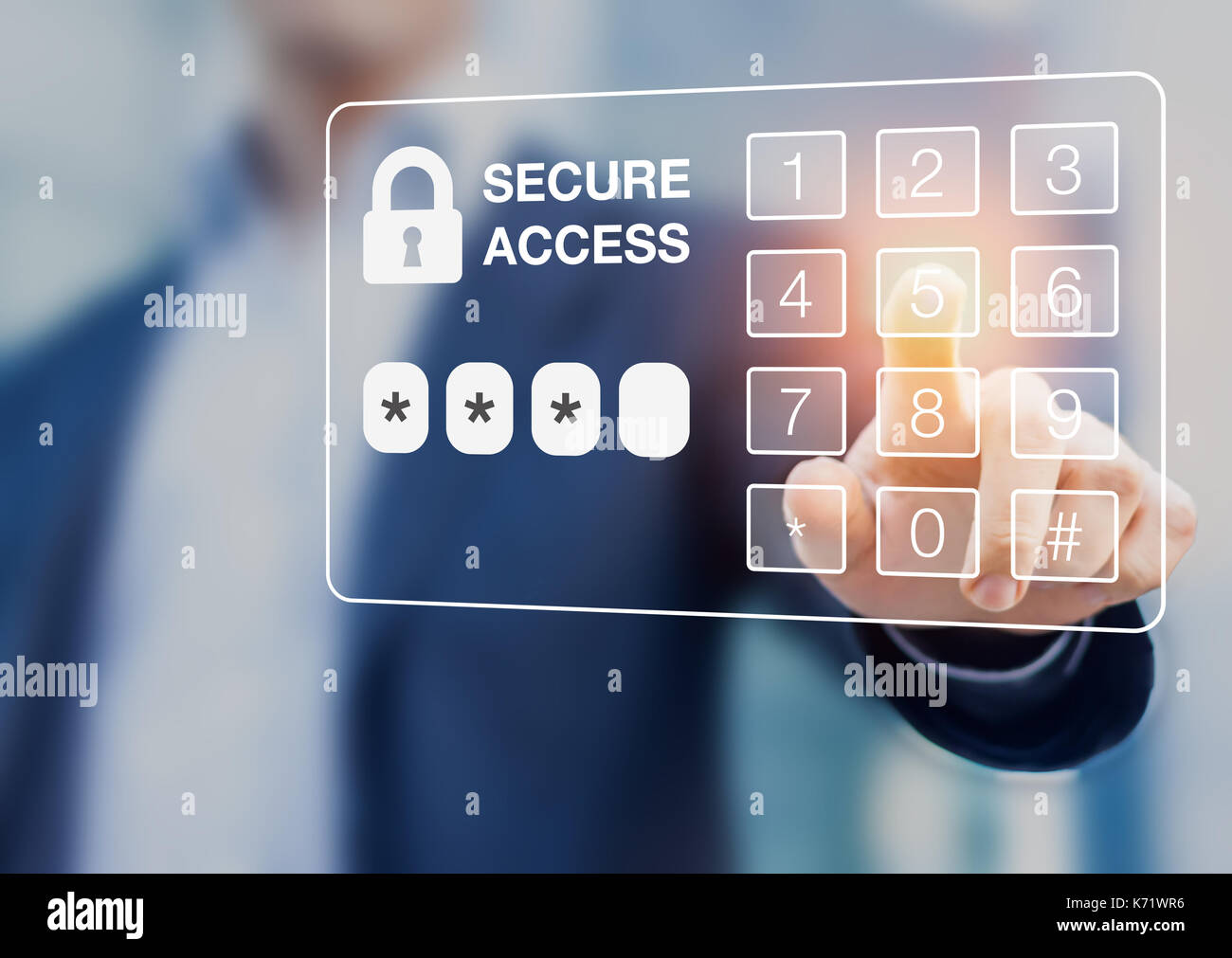 Person dialing password on a virtual screen digital keypad, secure access, security - Stock Image