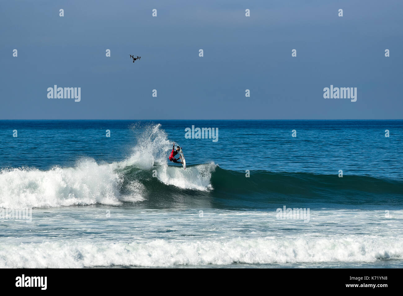 San Clemente, USA. 13 September, 2017.  Surfers compete head to head during the 2017 Hurley Pro surf contest at Lower Trestles, San Onofre State Park, CA. Surfer: Gabriel Medina (BRA). Credit: Benjamin Ginsberg/Alamy Live News. - Stock Image