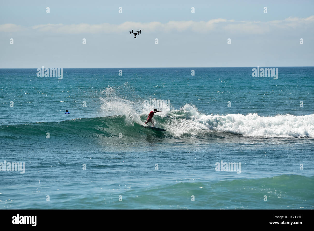San Clemente, USA. 13 September, 2017.  Surfers compete head to head during the 2017 Hurley Pro surf contest at Lower Trestles, San Onofre State Park, CA. Credit: Benjamin Ginsberg/Alamy Live News. - Stock Image