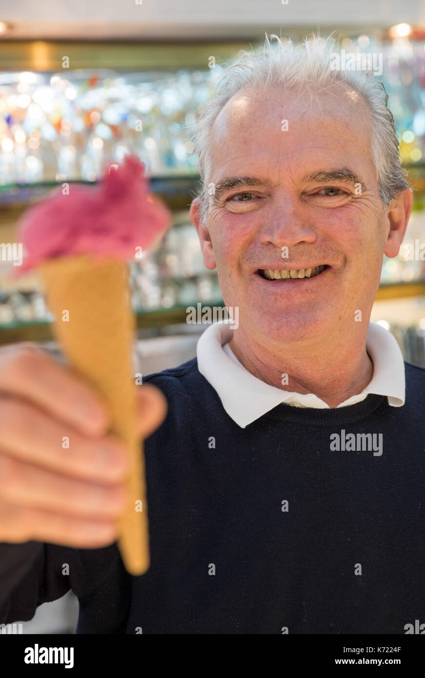 Schwabach, Germany. 14th Sep, 2017. Guido de Rocco in his ice cream parlour in Schwabach, Germany, 14 September 2017. A sorbet made with grapes and caramelised walnuts called 'Tributo alla Serenissima' created by Rocco recently took second place in the international ice cream competition Gelato World Tour held in Italy. Photo: Daniel Karmann/dpa/Alamy Live News - Stock Image