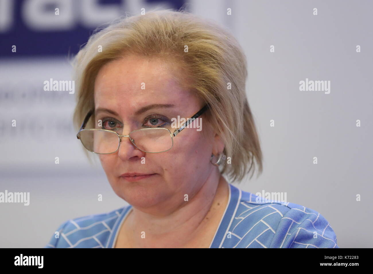 Moscow, Russia. 14th Sep, 2017. Lyubov Dukhanina, head of the Department of Pedagogy and Methodology of Scientific Education at the MEPhi National Research Nuclear University at a meeting of the Organising Committee for the Centenary of the 1917 Russian Revolution. Credit: Valery Sharifulin/TASS/Alamy Live News - Stock Image