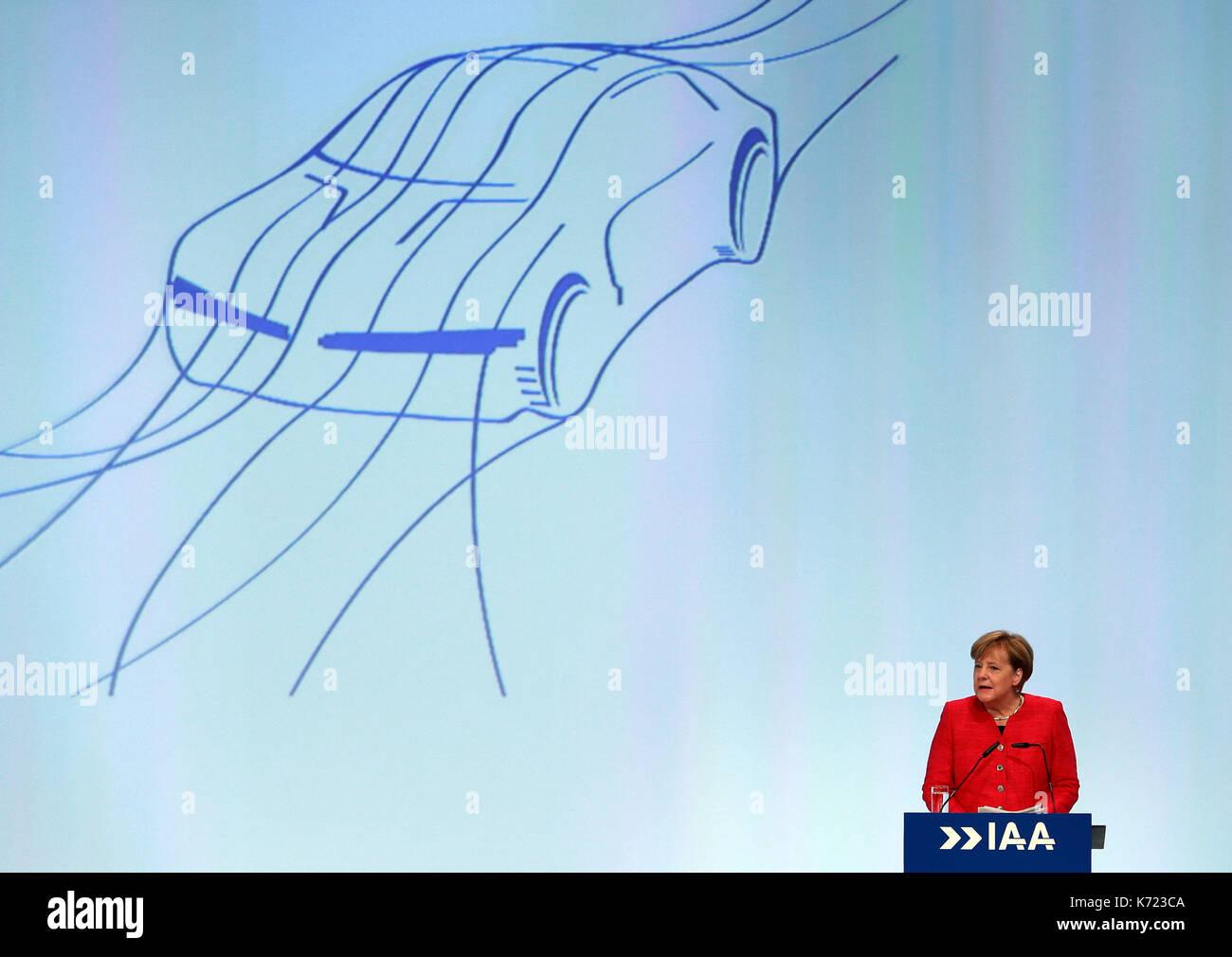Frankfurt, Germany. 14th Sep, 2017. German Chancellor Angela Merkel addresses the opening ceremony of the 67th Frankfurt Stock Photo