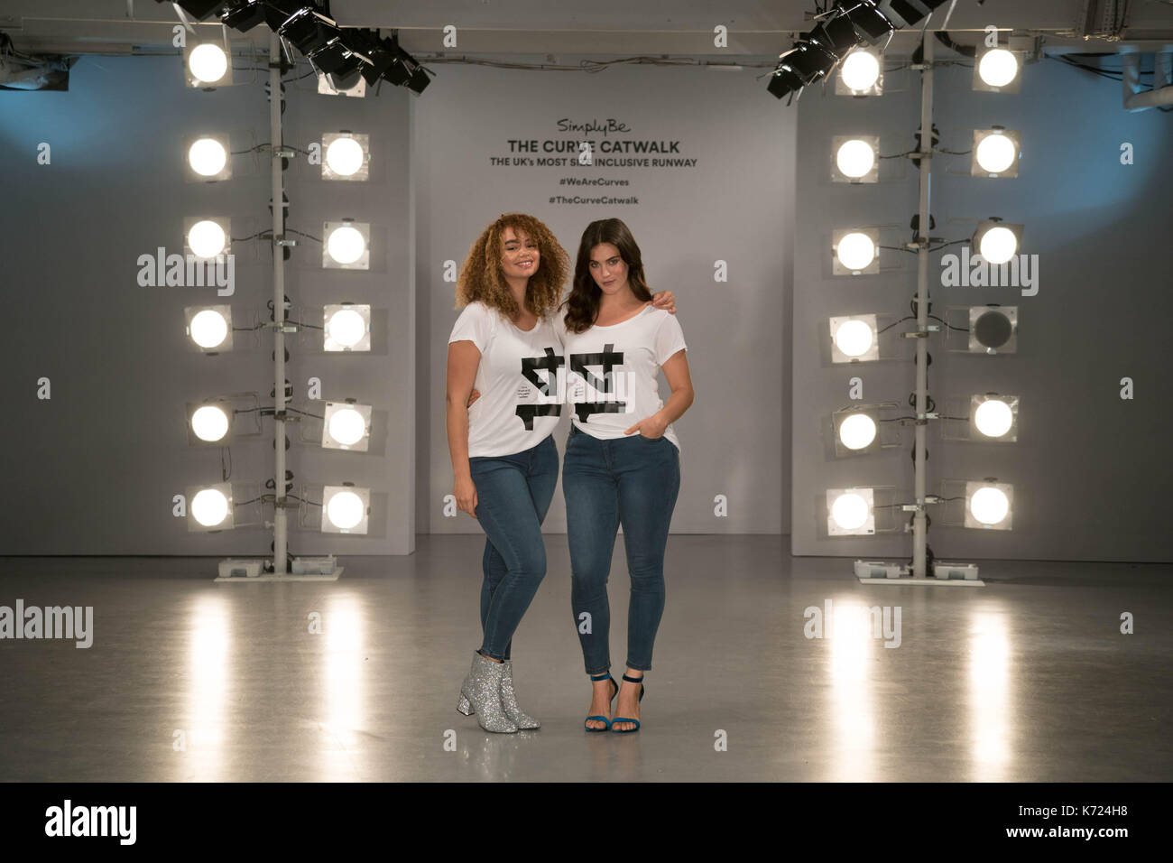 London, UK. 14th Sep, 2017. Models Sonny (left) and Ali Tate wearing tee shirts with their sizes on at a photo call for the Curve Catwalk, a fashion show celebrating diversity of body shapes and forms, at The Vinyl Factory as part of London Fashion Week in London. Photo date: Thursday, September 14, 2017. Photo credit should read Credit: Roger Garfield/Alamy Live News - Stock Image