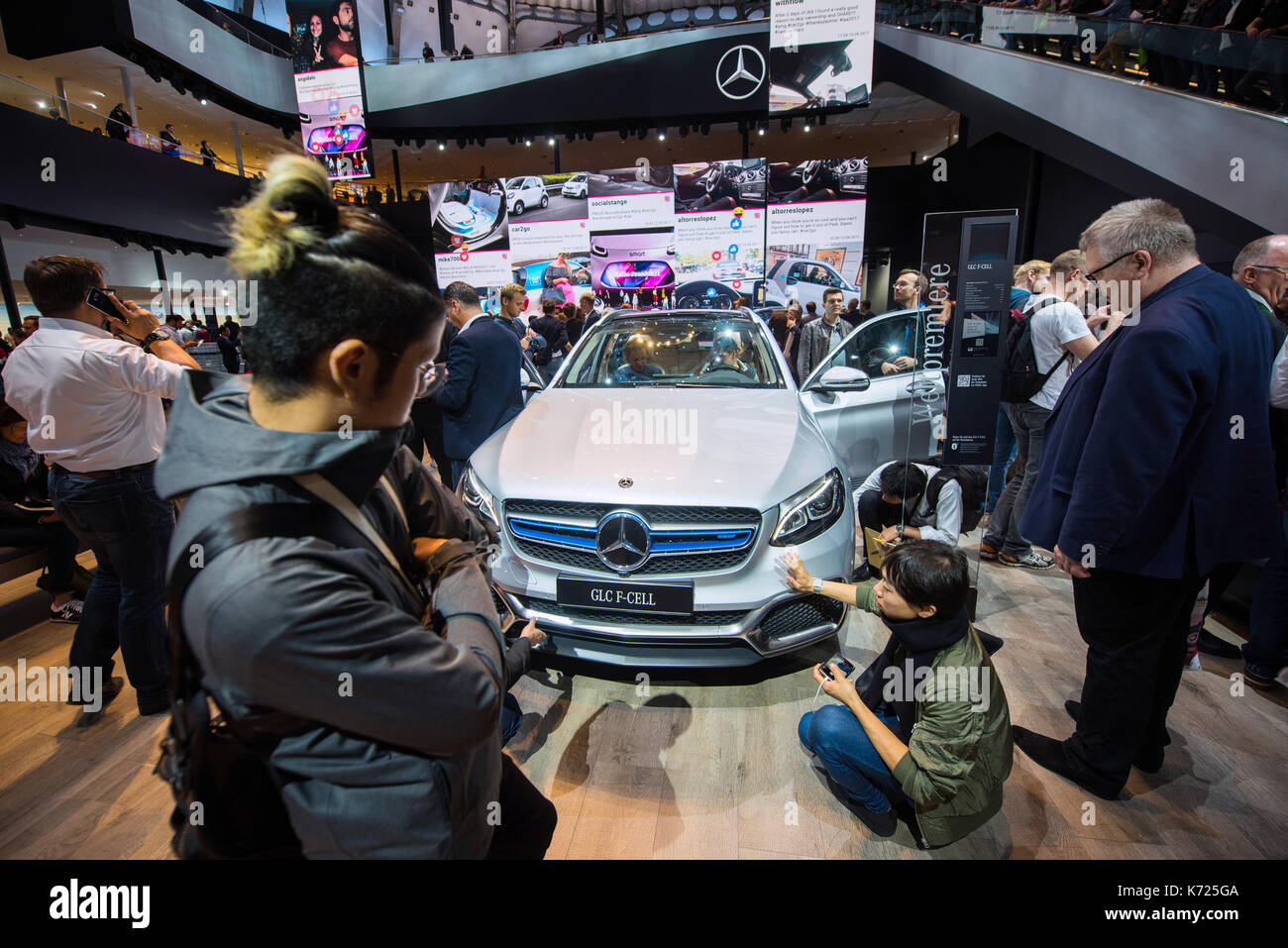 Frankfurt, Germany. 14th Sep, 2017. dpatop - Visitors inspect a Mercedes car with fuel cell technology at the International Stock Photo