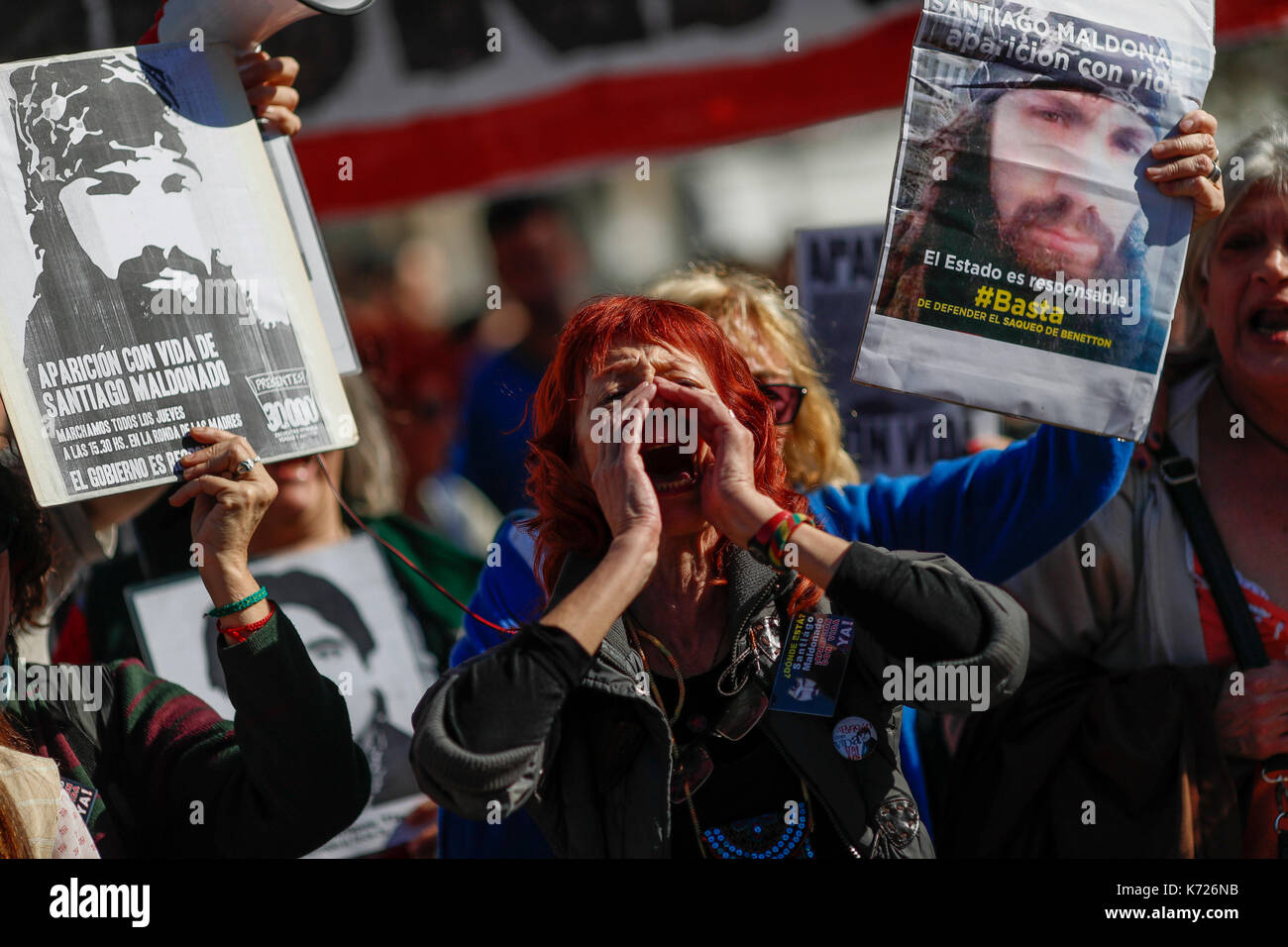Protestors demand the reappearance of Santiago Maldonado during the traditional weekly protest against forced disappearance in Buenos Aires, Argentina, 14 September 2017. The news that the young artisan who protested for the 'mapuches' went missing got out a month ago. EFE/David Fernandez - Stock Image