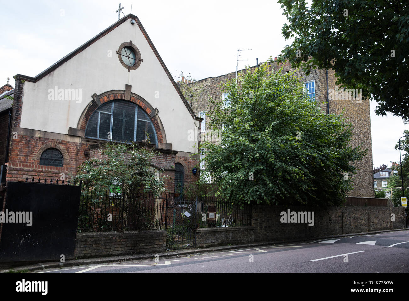 London, UK. 14th September, 2017. The historic Rochester Square Spiritualist Temple in Camden founded by Sir Arthur Conan Doyle. Blur guitarist Graham Coxon, who lived next to the temple for 18 years, has joined more than 100 campaigners fighting plans involving developer NTA Planning to demolish it and replace it with a 3-storey block of flats and flexible arts-based community space. Credit: Mark Kerrison/Alamy Live News - Stock Image