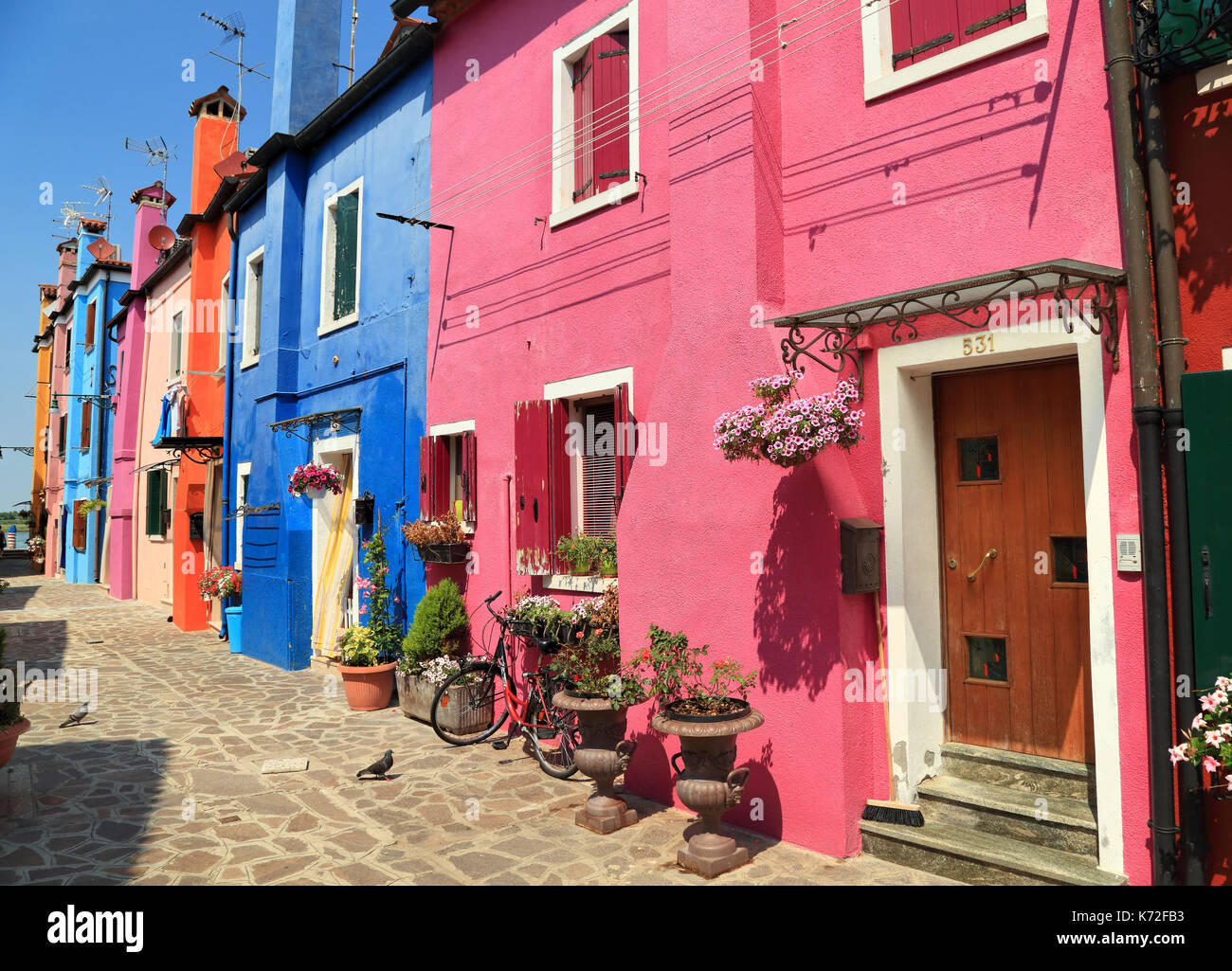 Burano Colorful Painted Houses Stock Photos & Burano Colorful ...