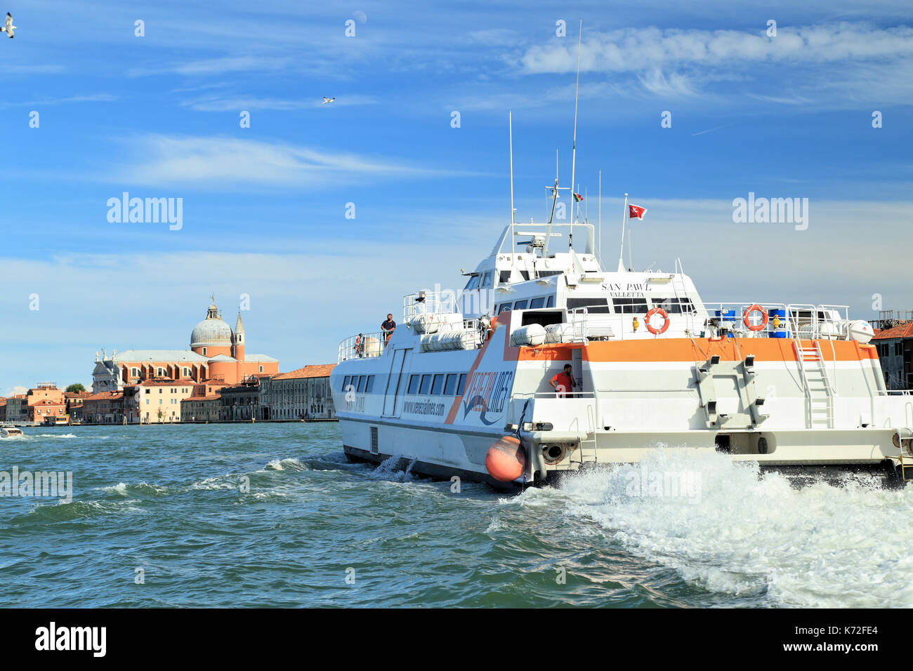 SAN PAWL, Venezia Lines, high speed hovercraft Air Cushion Vessel, IMO 8815932 - Stock Image