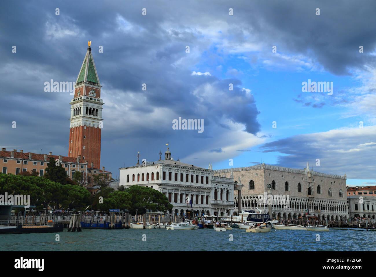 Dark clouds hang over Venice - Stock Image