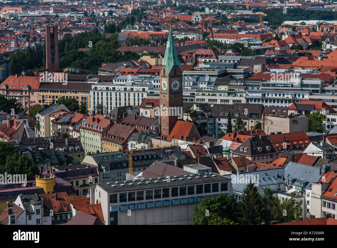 Cityscape of Munich, a view from Frauenkirche - Stock Image