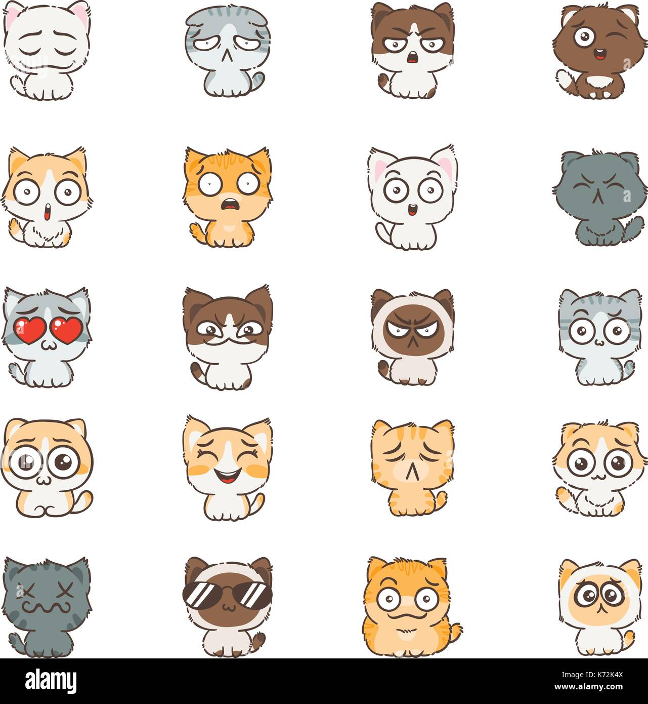 cute cartoon cats and dogs with different emotions sticker stock