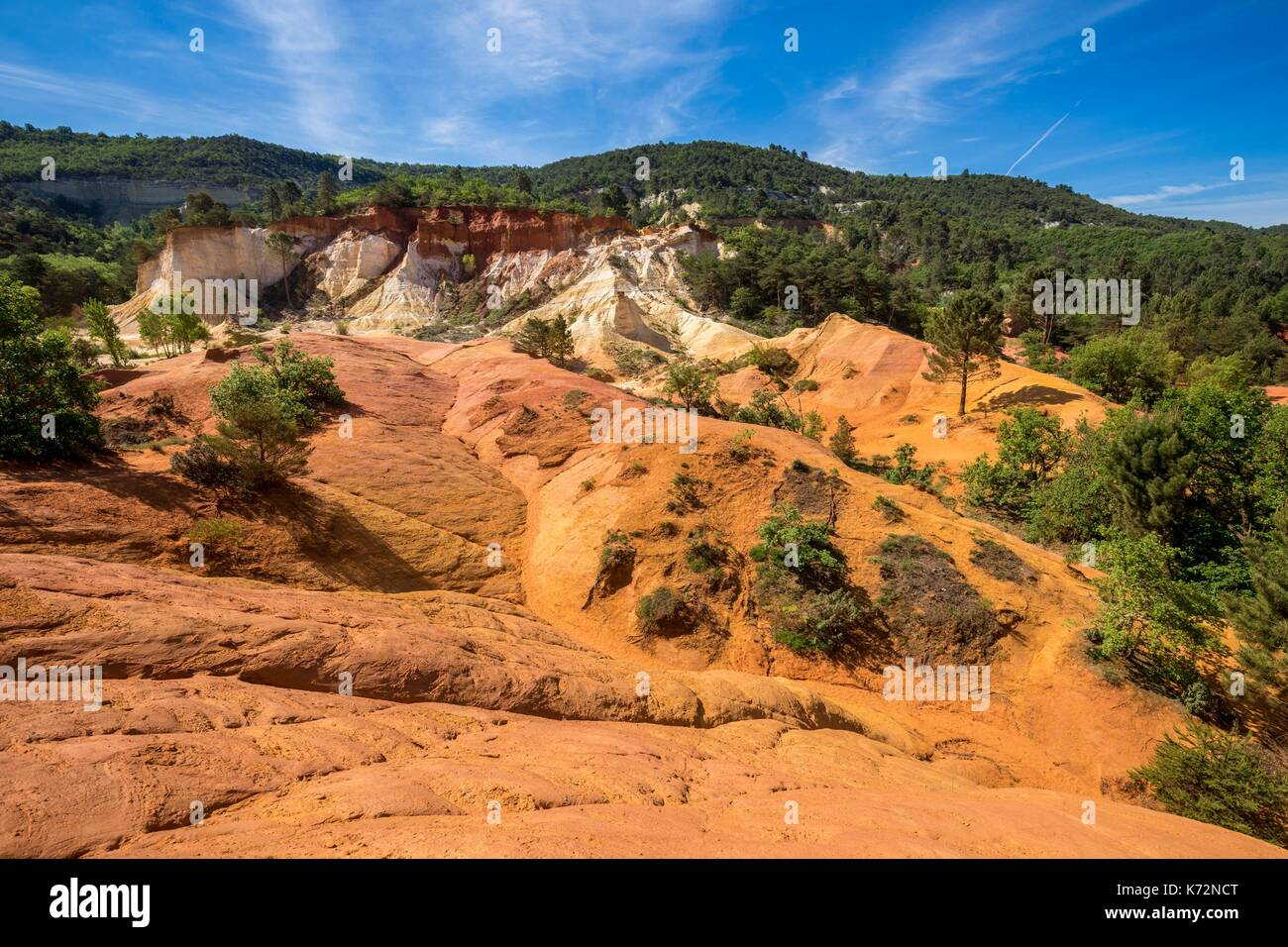 France, Vaucluse, regional natural reserve of Luberon, Rustrel, Provenal Colorado, former careers of ochre - Stock Image