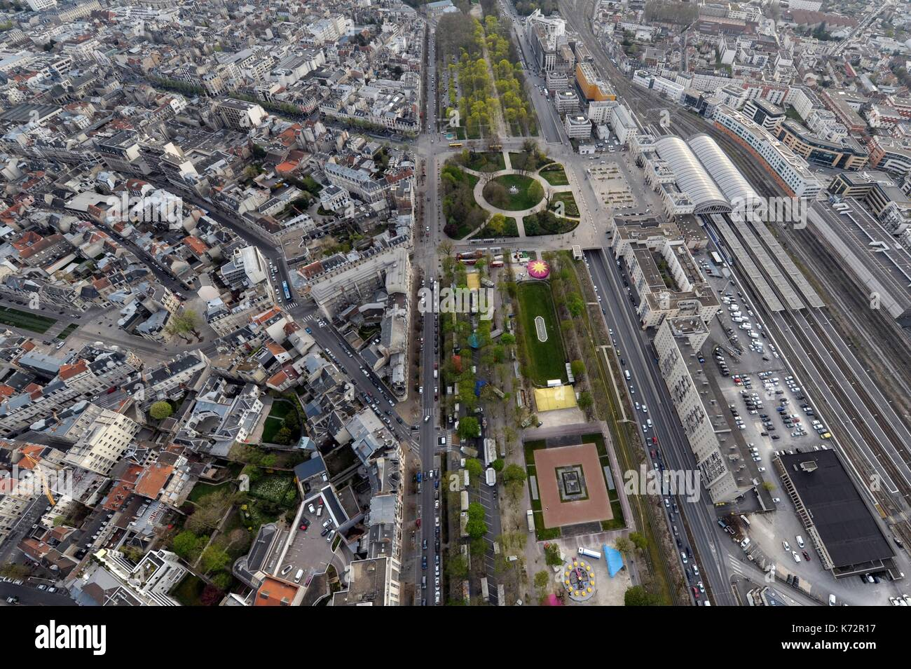 France, Marne, Reims, Reims station, promenades and city center (aerial view) - Stock Image