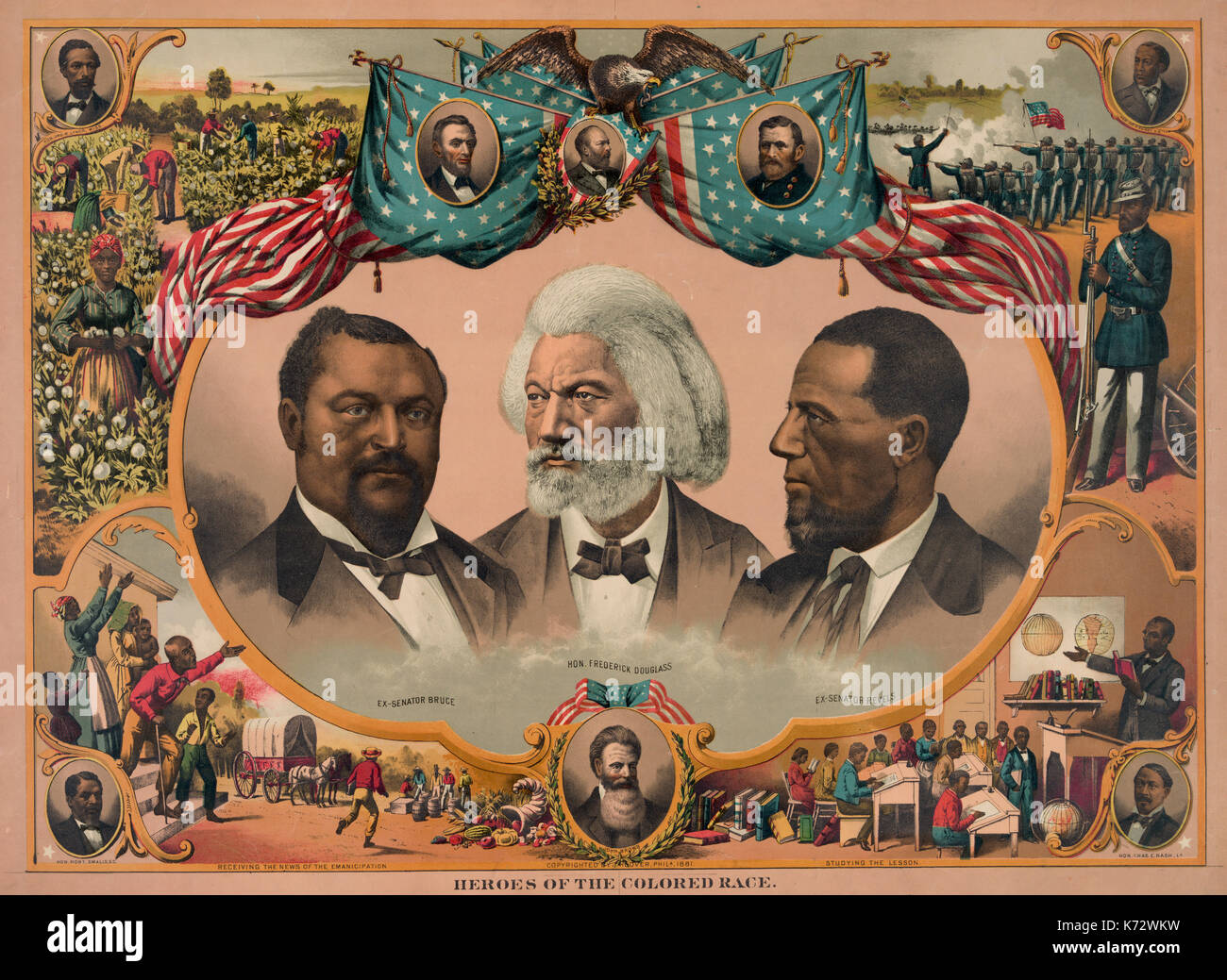 Heroes of the colored race  - Print shows head-and-shoulders portraits of Blanche Kelso Bruce, Frederick Douglass, and Hiram Rhoades Revels surrounded by scenes of African American life and portraits of Jno. R. Lynch, Abraham Lincoln, James A. Garfield, Ulysses S. Grant, Joseph H. Rainey, Charles E. Nash, John Brown, and Robert Smalls, circa 1881 - Stock Image