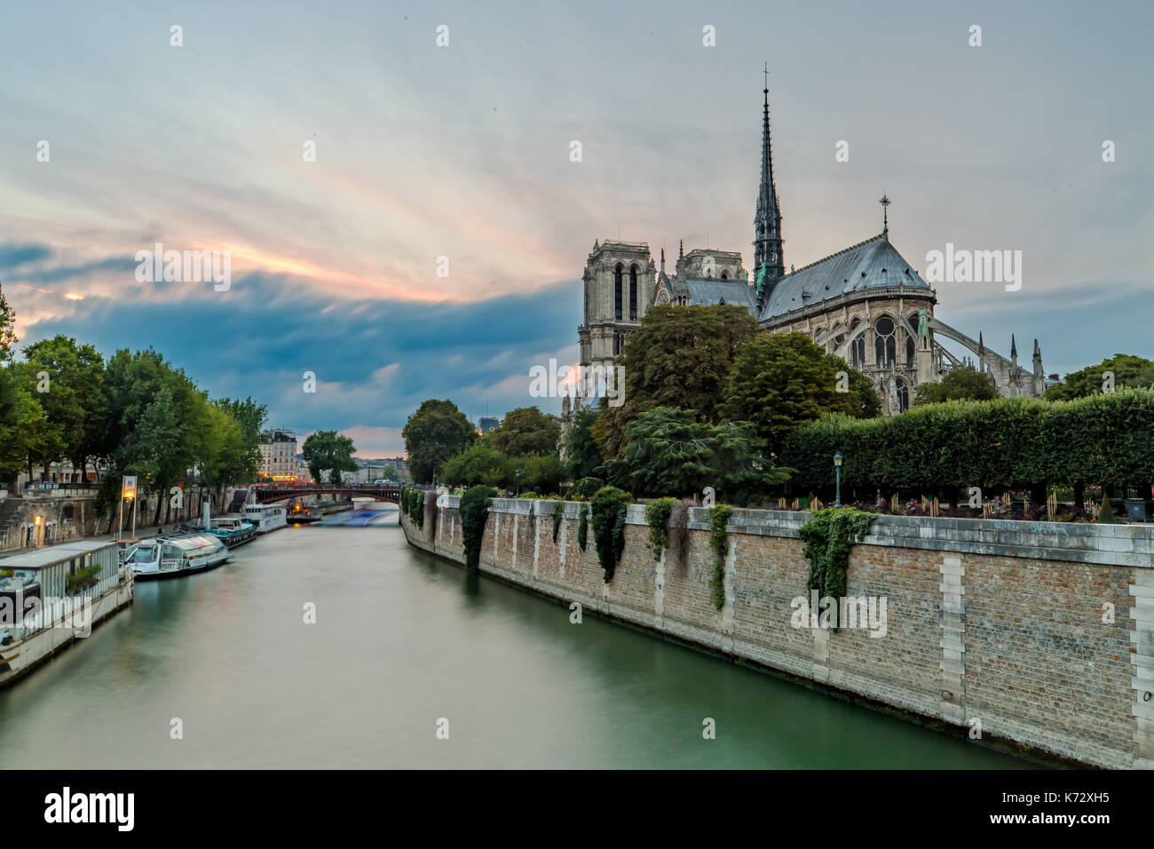 Notre Dame and the Seine in Paris - Stock Image