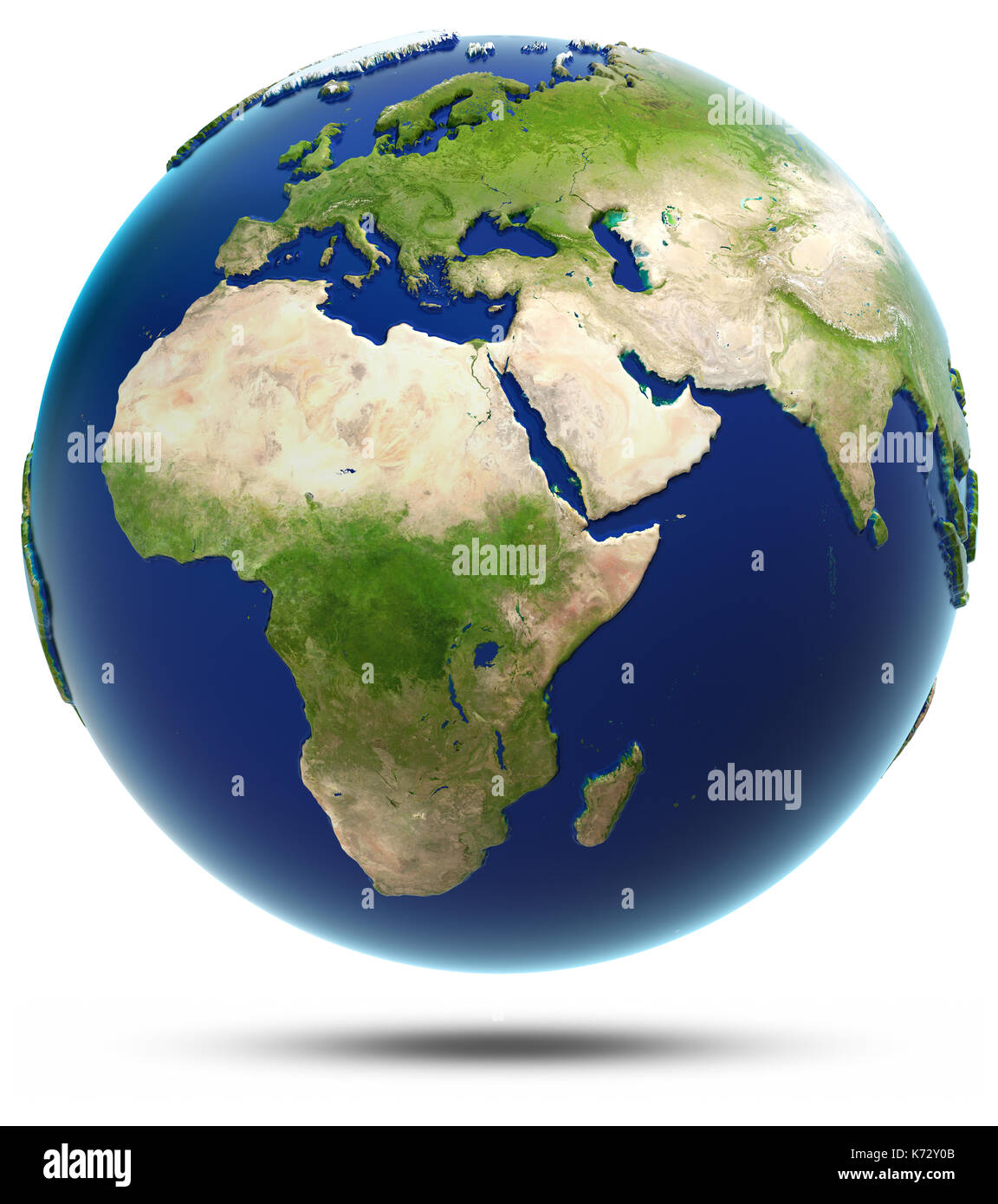 Earth model - Africa and Eurasia 3d rendering - Stock Image