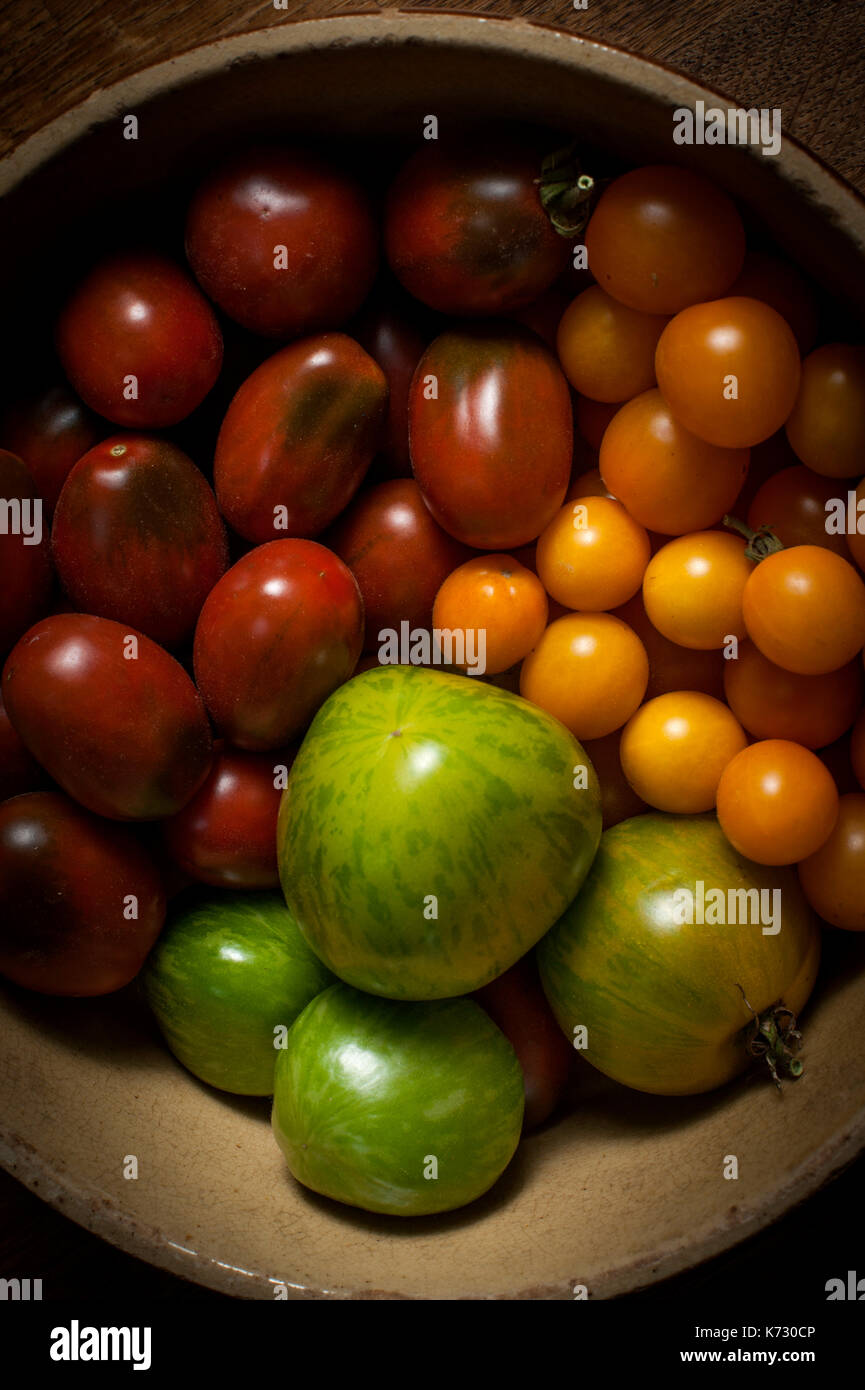 Three varieties of organically grown tomatoes. Yellow are Orange Berry, Green are Grunes Zebra and Red are Black Plum. - Stock Image