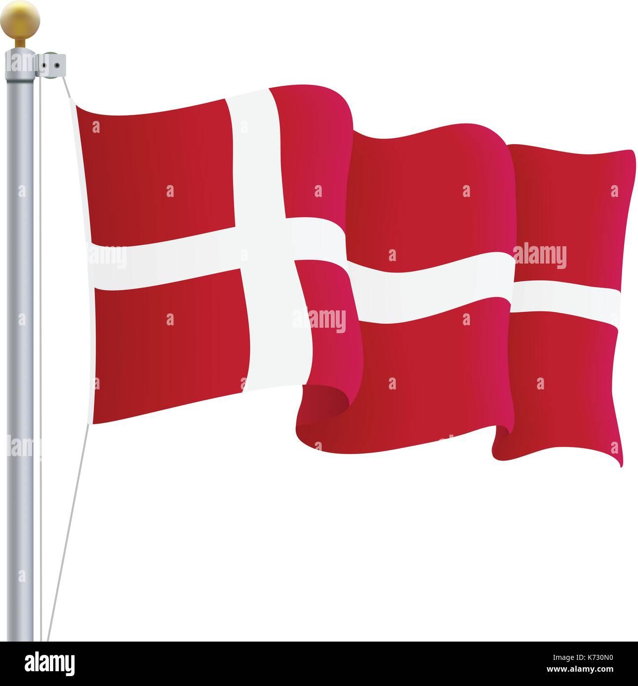 Waving Denmark Flag Isolated On A White Background. Vector Illustration. - Stock Image