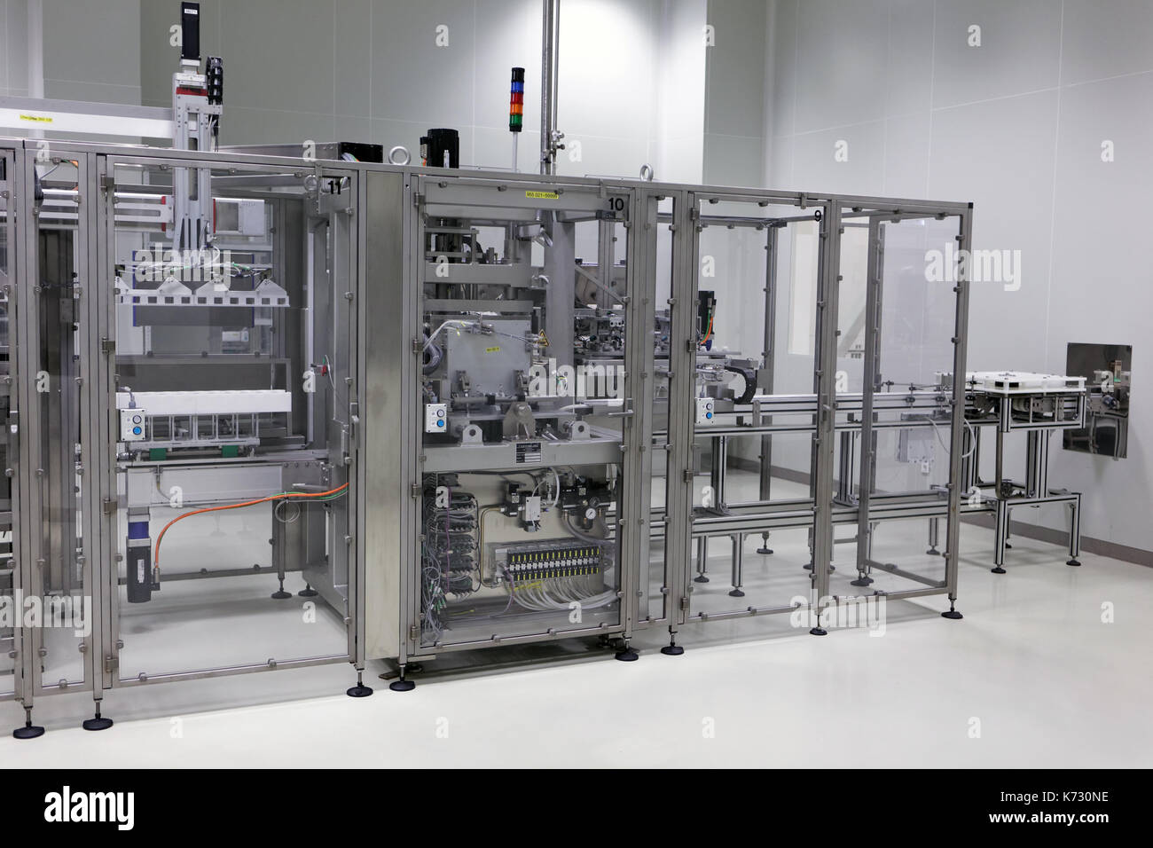 St. Petersburg, Russia - September 24, 2015: Production of infusion solutions on the Solopharm plant. The new modern pharmaceutical plant was built in - Stock Image