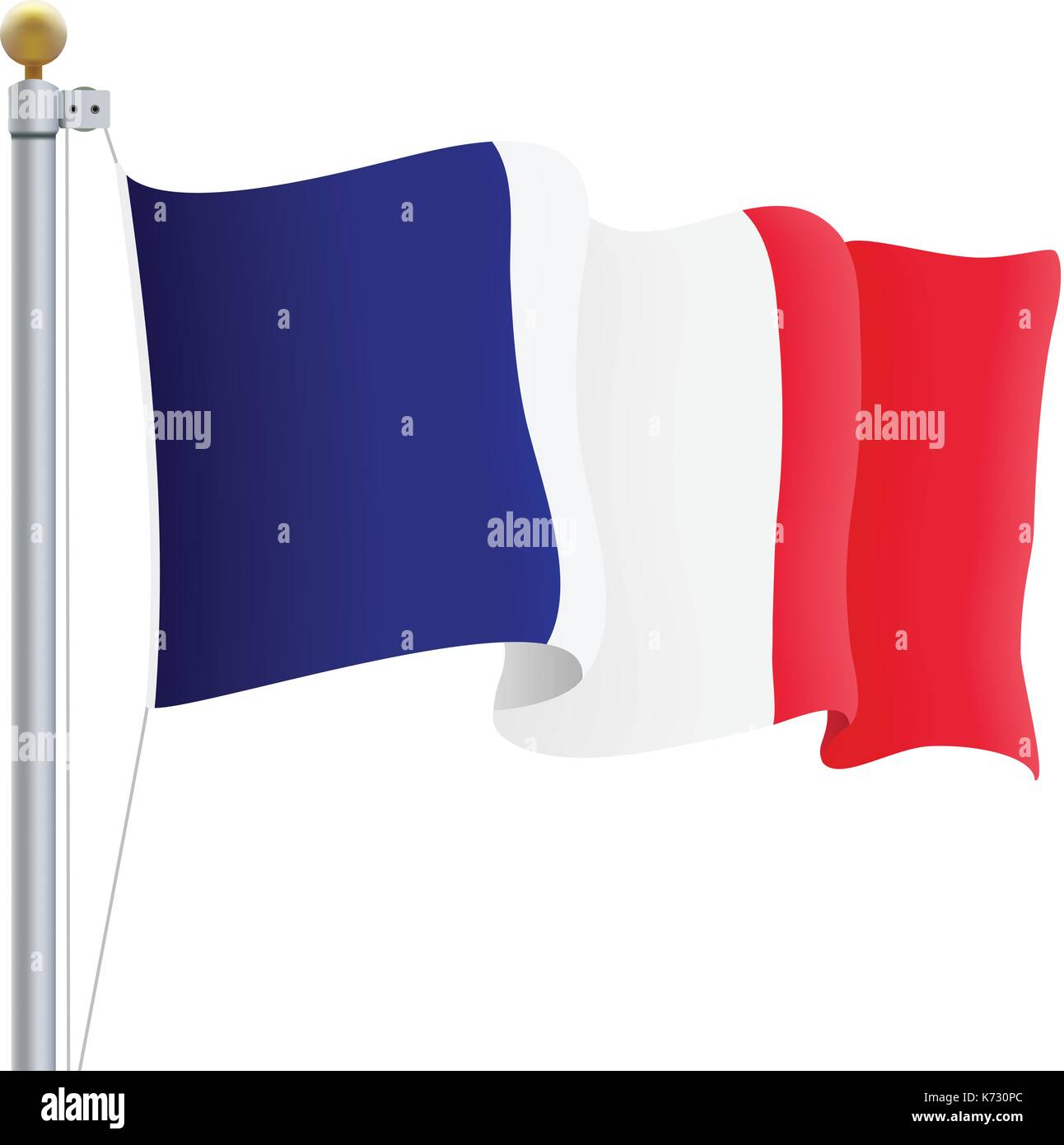 Waving France Flag Isolated On A White Background. Vector Illustration. - Stock Image